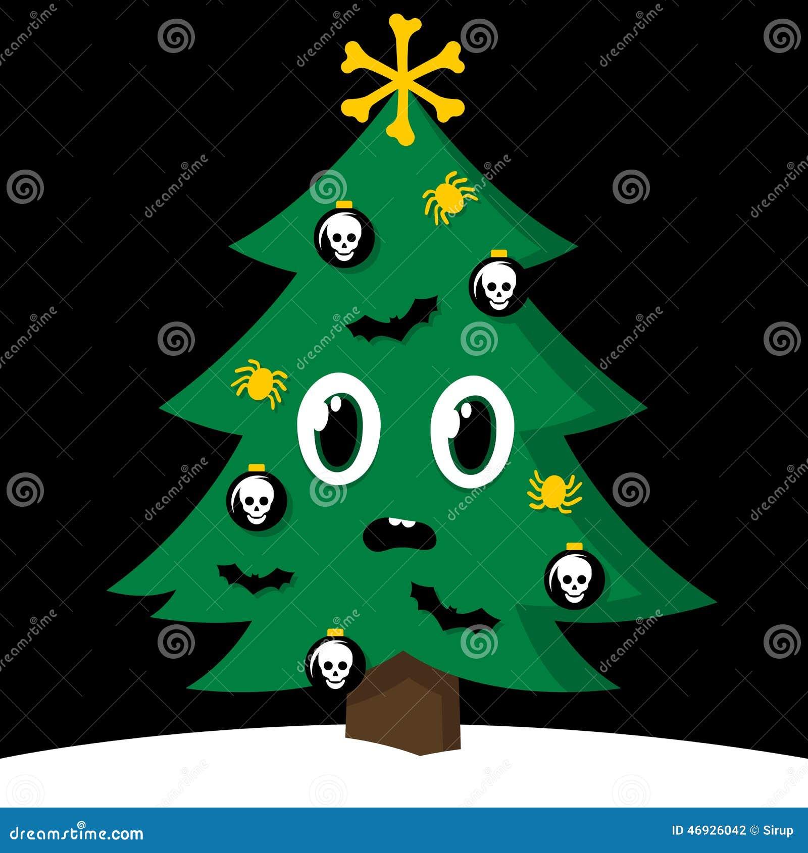 Пугающая рождественская елка с украшениями хеллоуина ...
