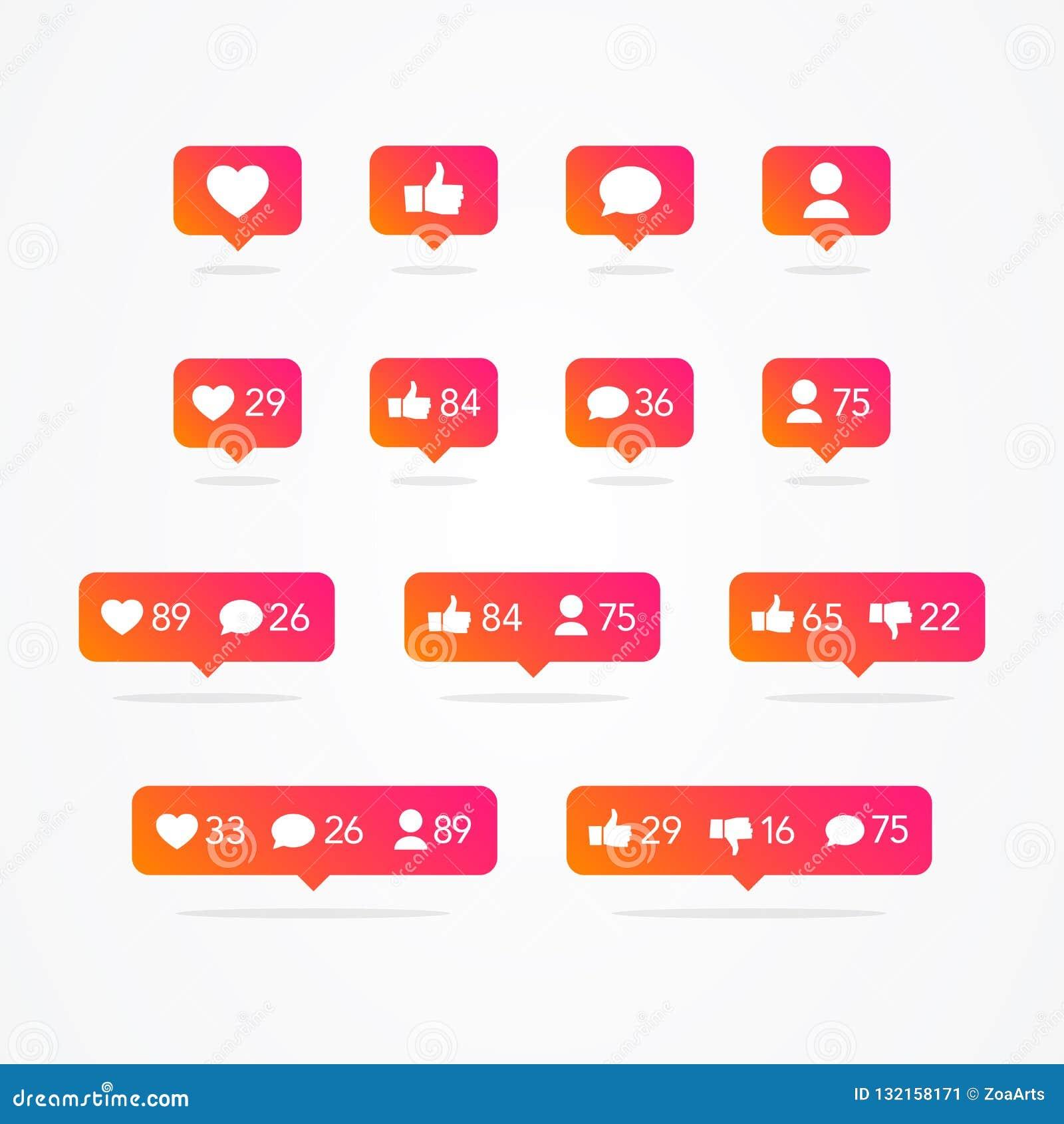 Пузырь речи Tooltip вектора как, не похож на, следующий, комментарий, уведомление, сердце, набор значка потребителя Col социальны