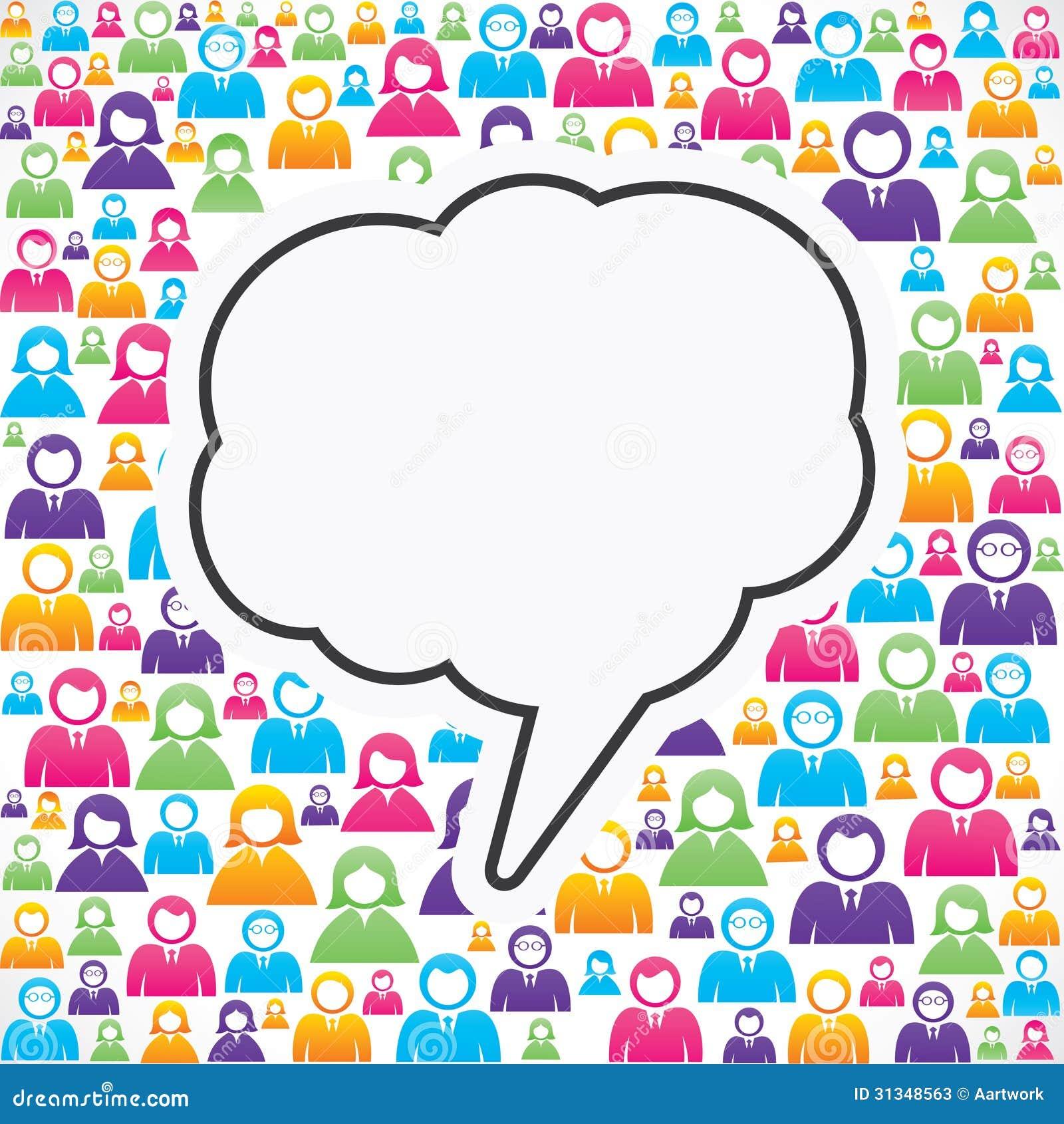 Пузырь сообщения с в группой людей