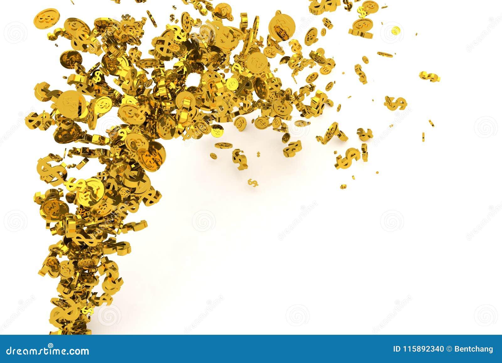 Пук денег, золото, знак доллара или монетки пропускают от пола, современной предпосылки стиля или текстуры