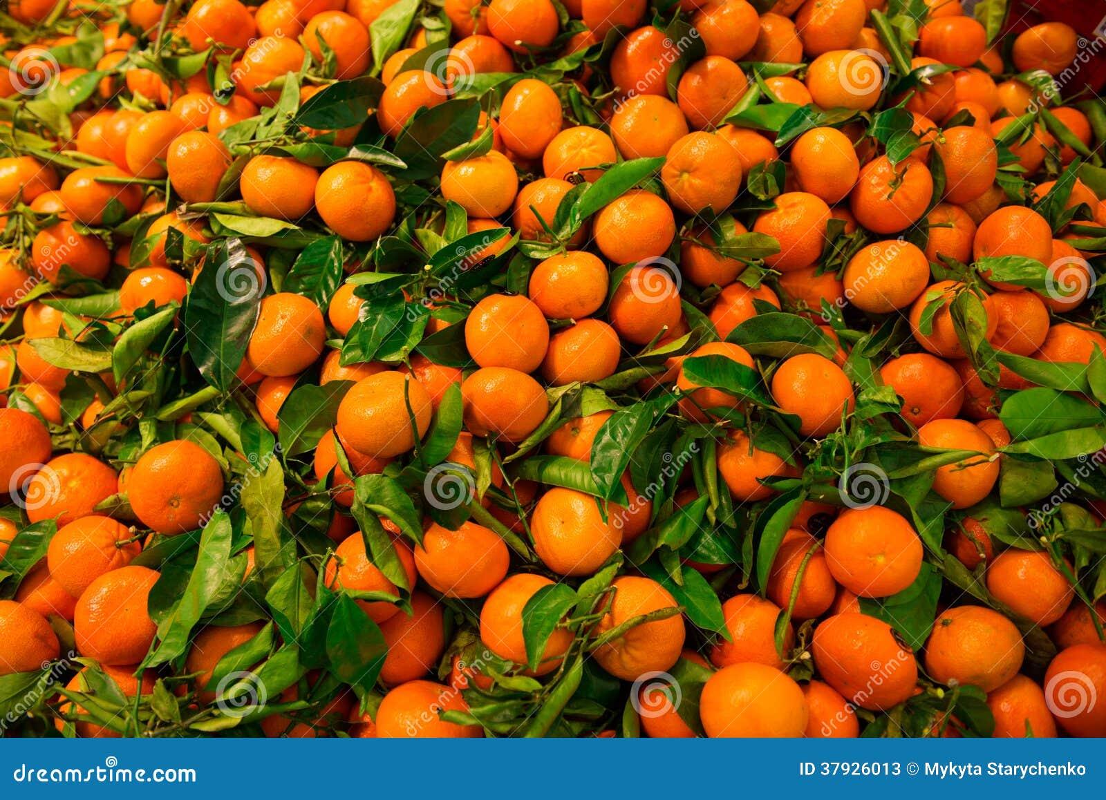 Пук свежего мандарина с листьями
