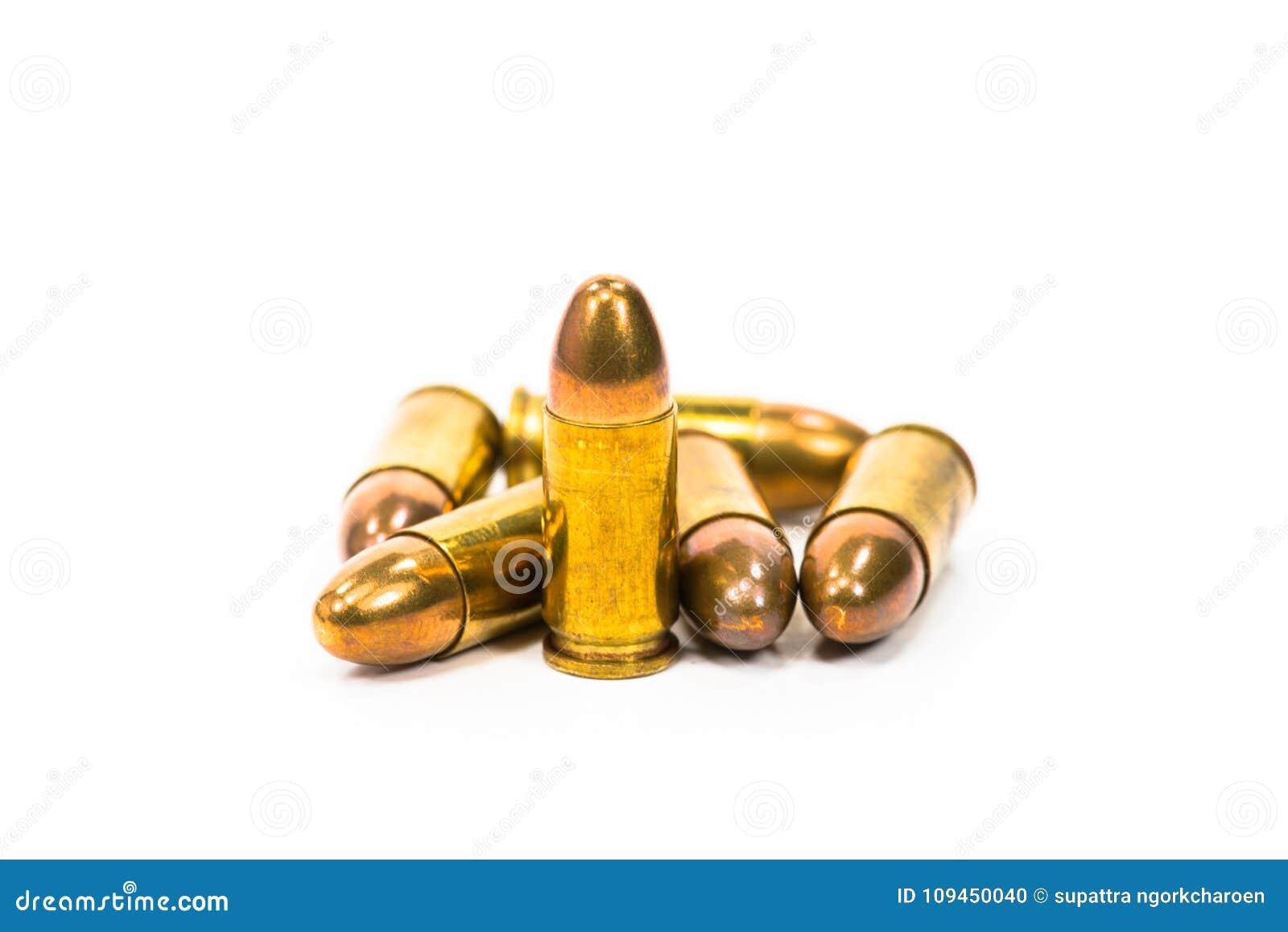 Пули положенные на белую предпосылку