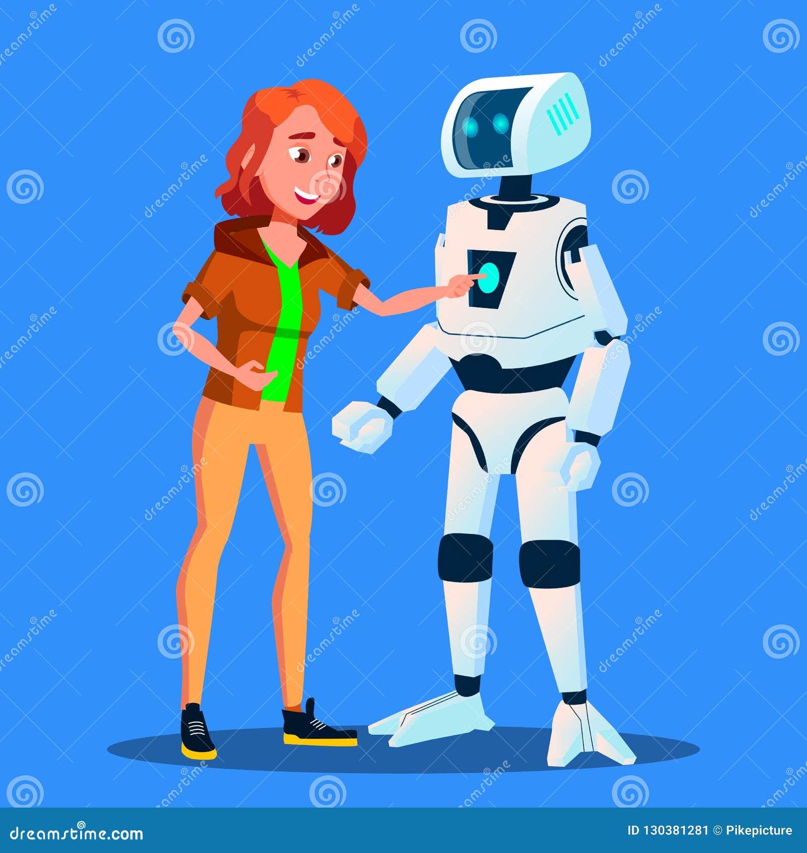 Пульт управления девушки запуская умного домашнего вектора хелпера робота изолированная иллюстрация руки кнопки нажимающ женщину