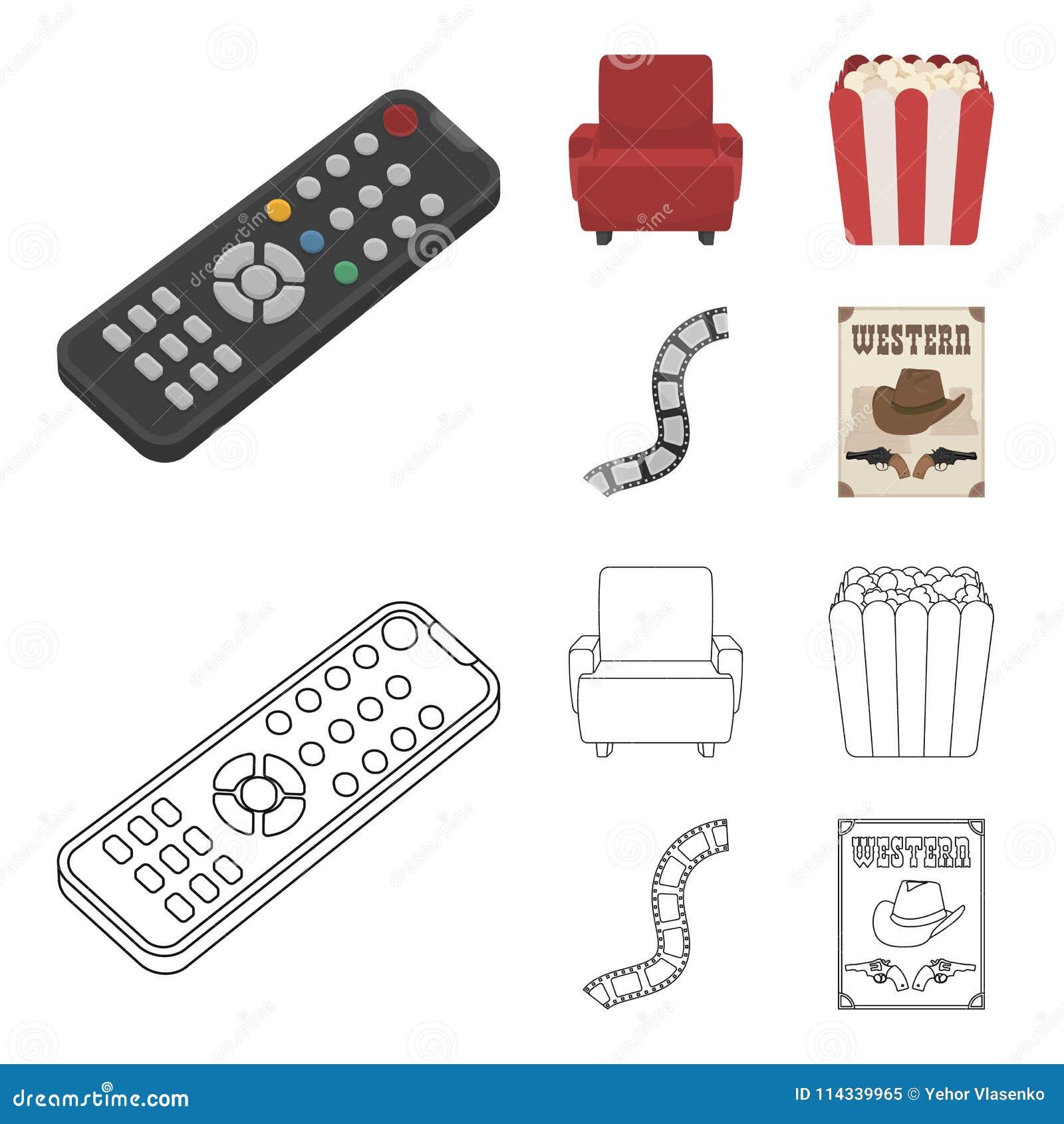 Пульт управления, кресло для осматривать, попкорн Значки собрания комплекта фильмов и кино в шарже, векторе стиля плана