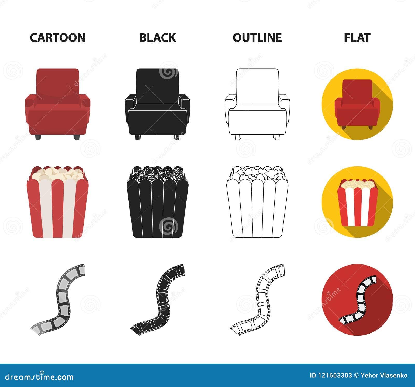 Пульт управления, кресло для осматривать, попкорн Значки собрания комплекта фильмов и кино в шарже, черноте, плане, плоском