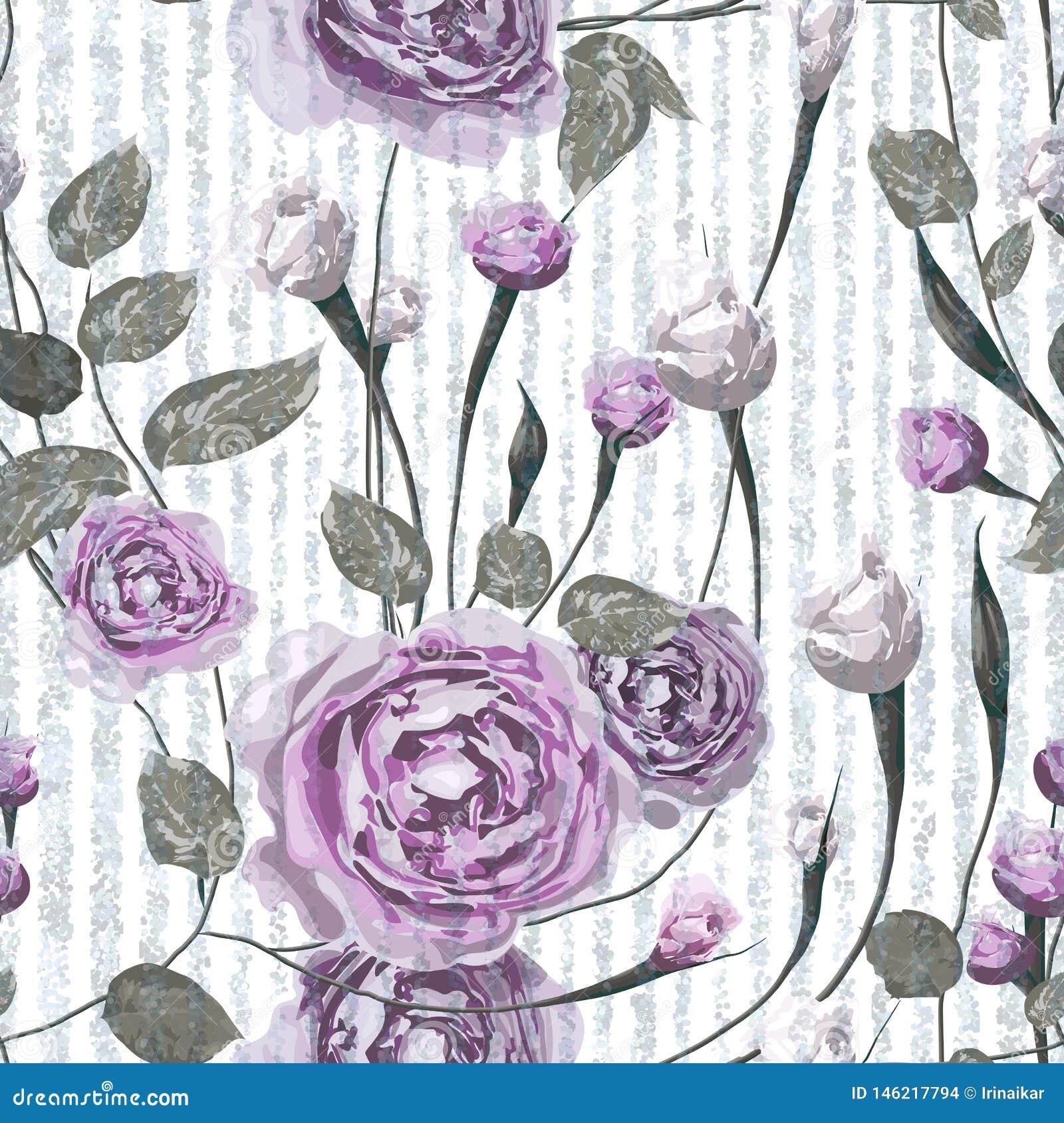 Пурпур поднял цветки с листьями на striped голубой и белой предпосылке