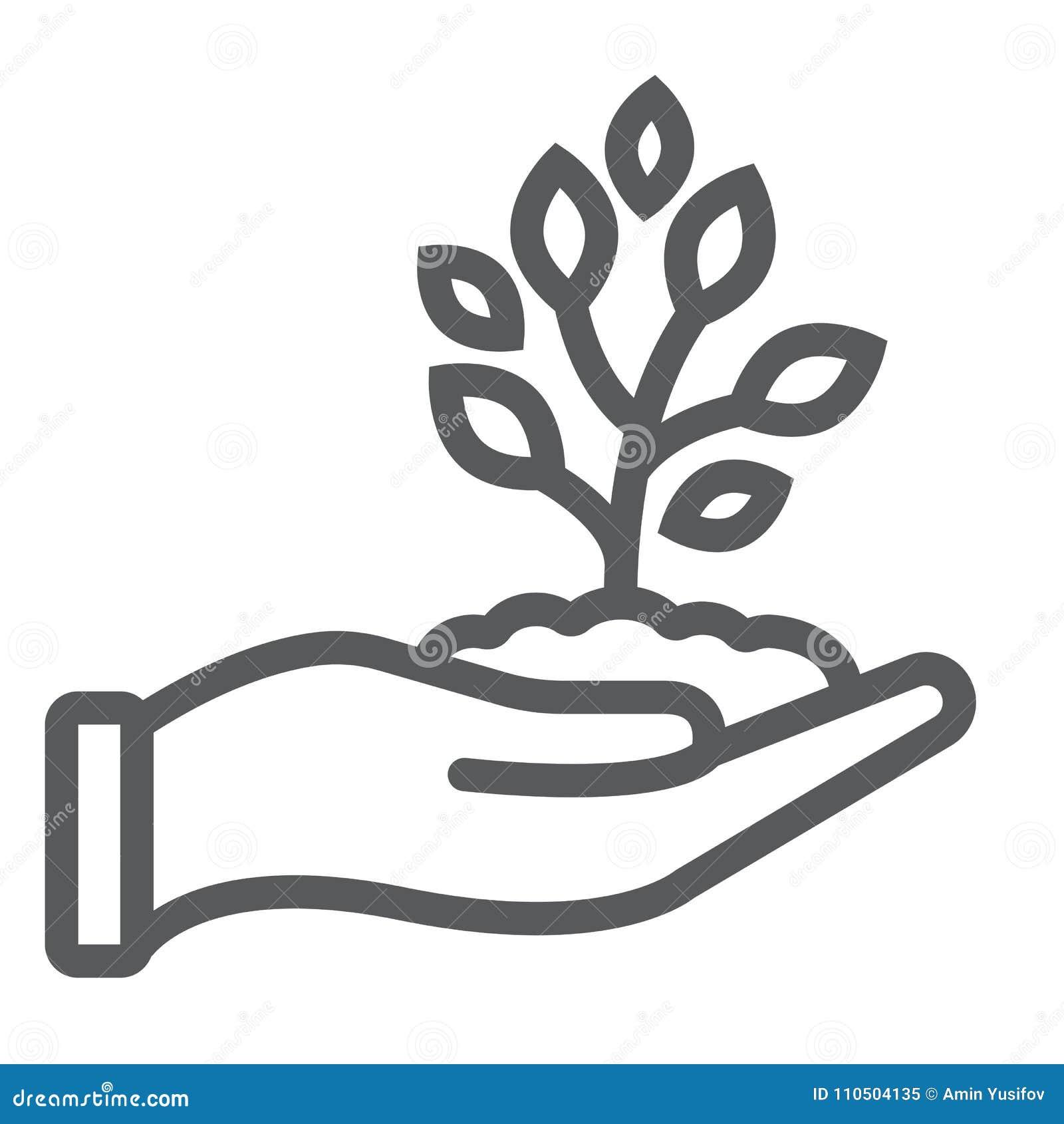 Пускайте ростии в линии руки значке, сельском хозяйстве и земледелии