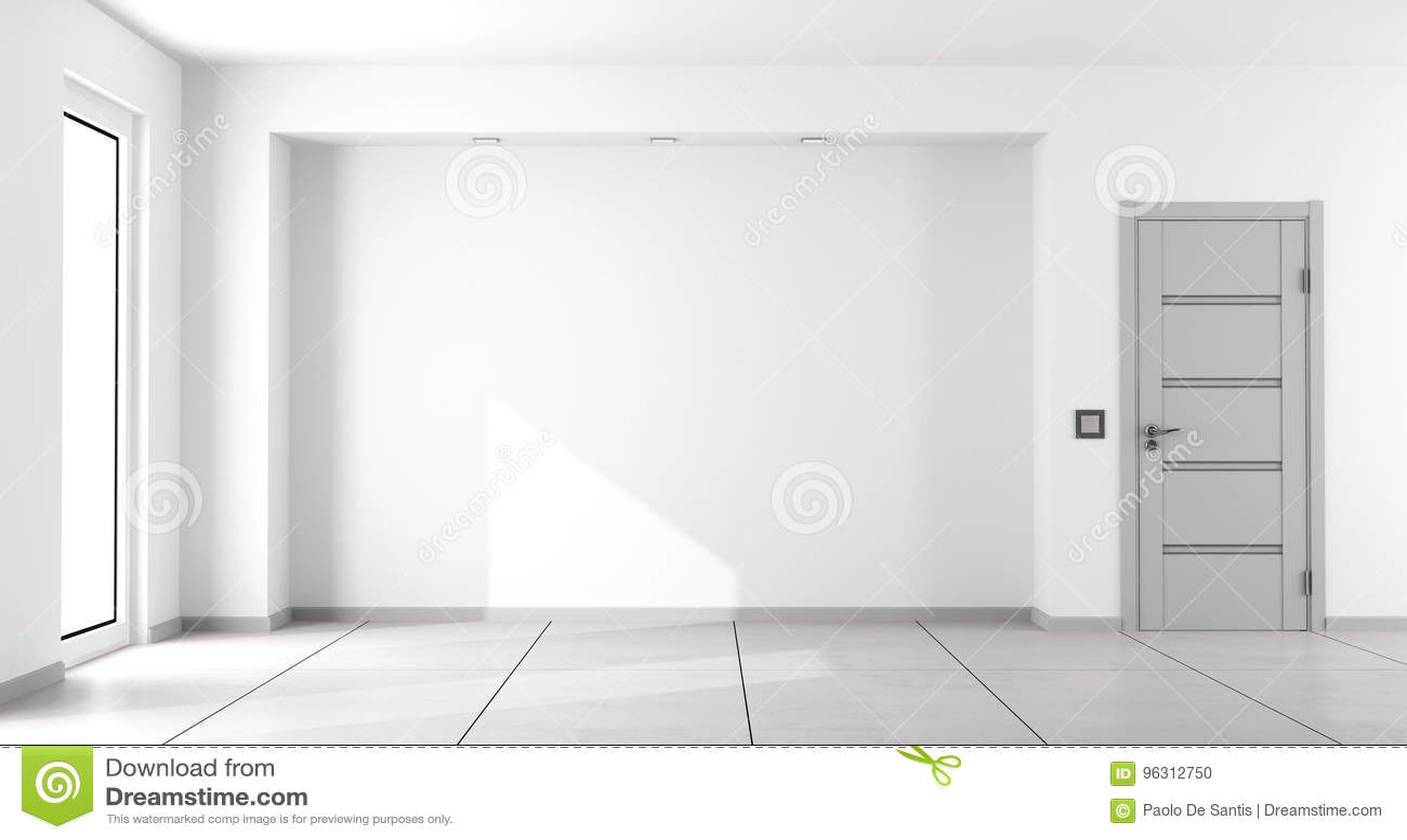 Пустая белая минималистская живущая комната