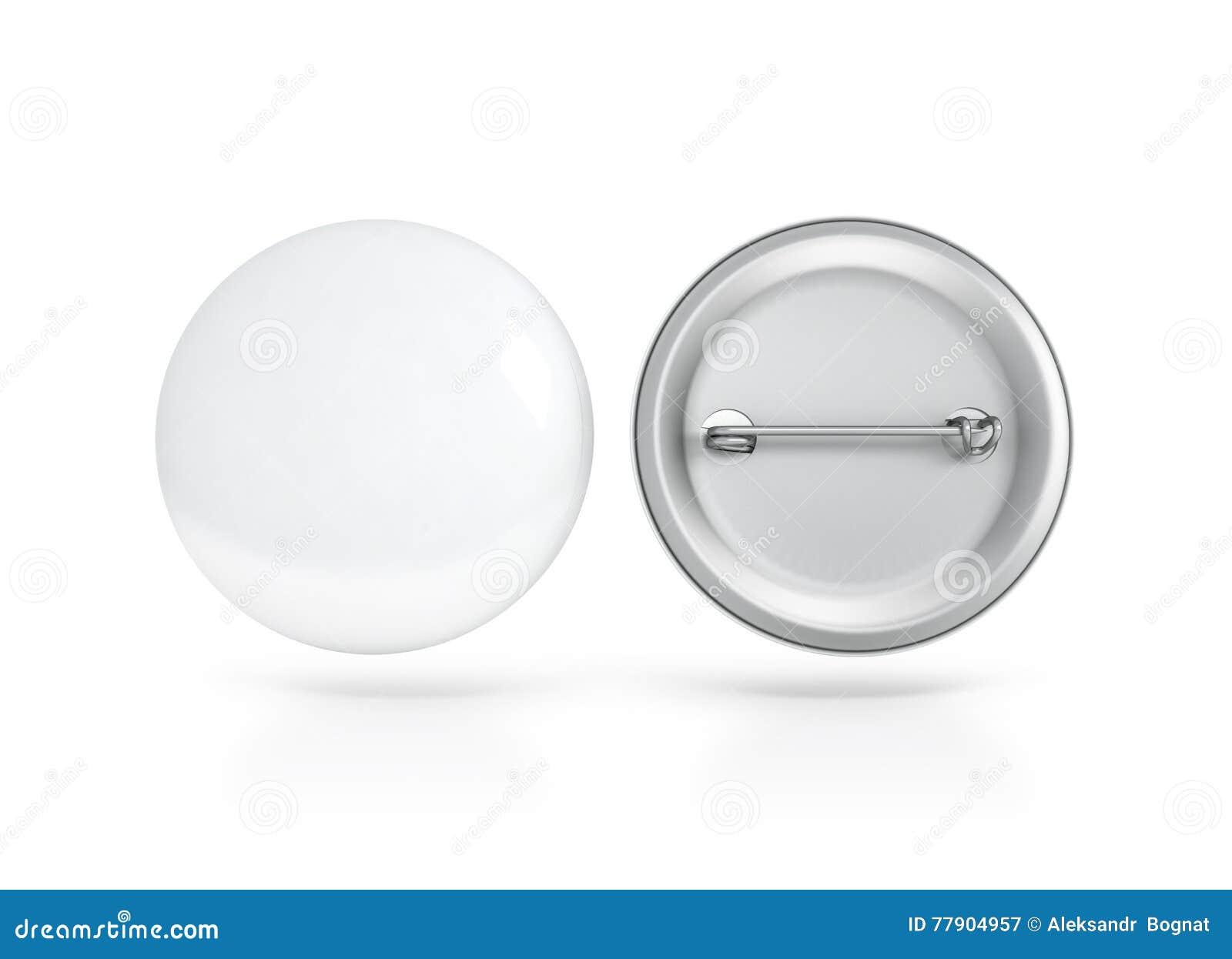 Пустая белая сторона модель-макета значка кнопки, передних и задних, путь клиппирования