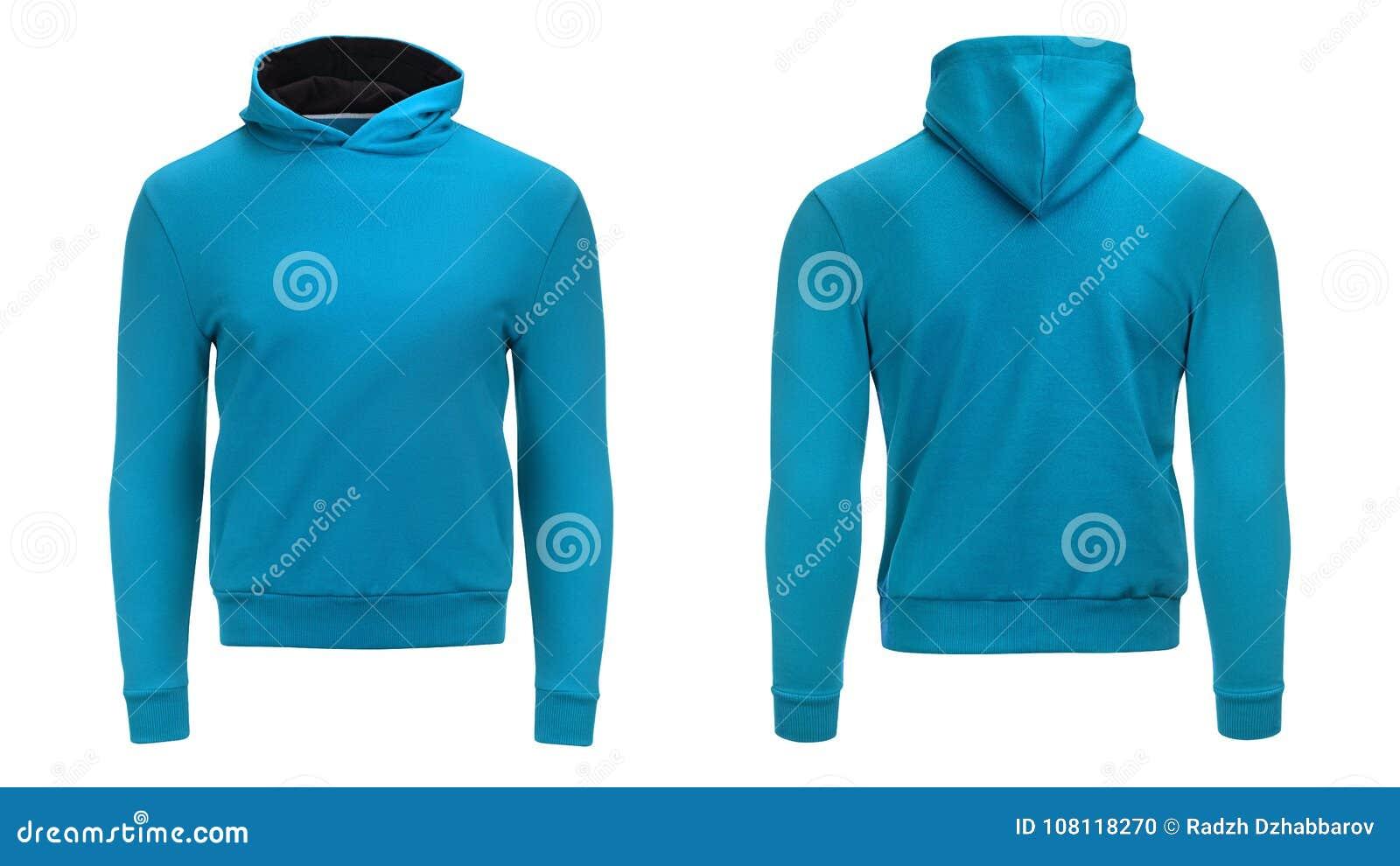 Пустая голубая фуфайка hoodie с путем клиппирования, пуловером людей для вашего модель-макета дизайна и шаблоном для печати, бело