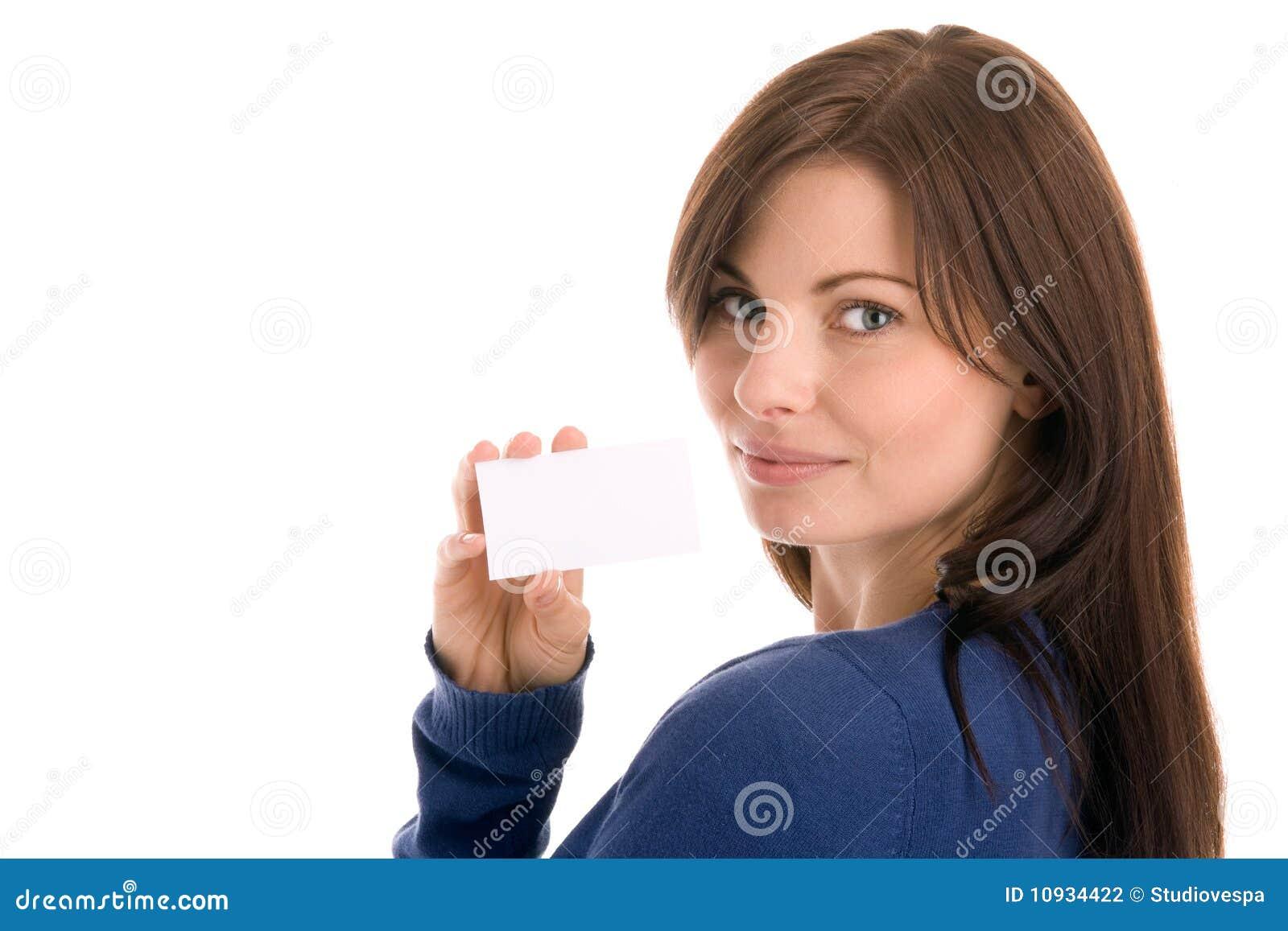 пустая женщина удерживания визитной карточки