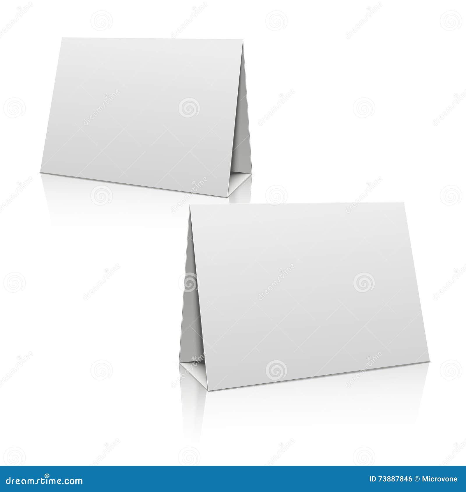 Пустая карточка держателя таблицы стойки белой бумаги шаблон дизайна вектора 3D