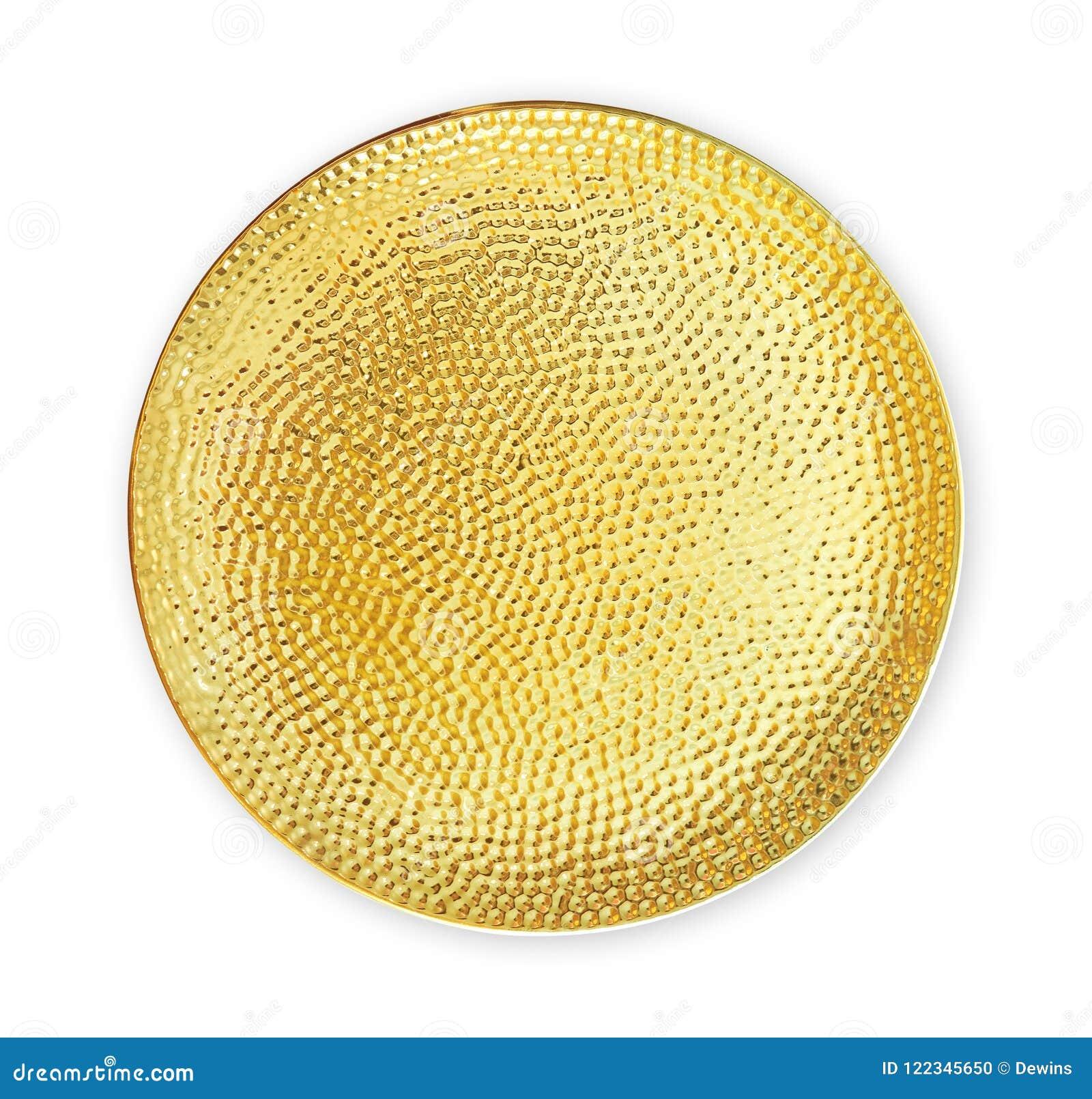 Пустая керамическая плита, золотая посуда с грубой картиной, осматривает сверху изолированный на белой предпосылке с путем клиппи