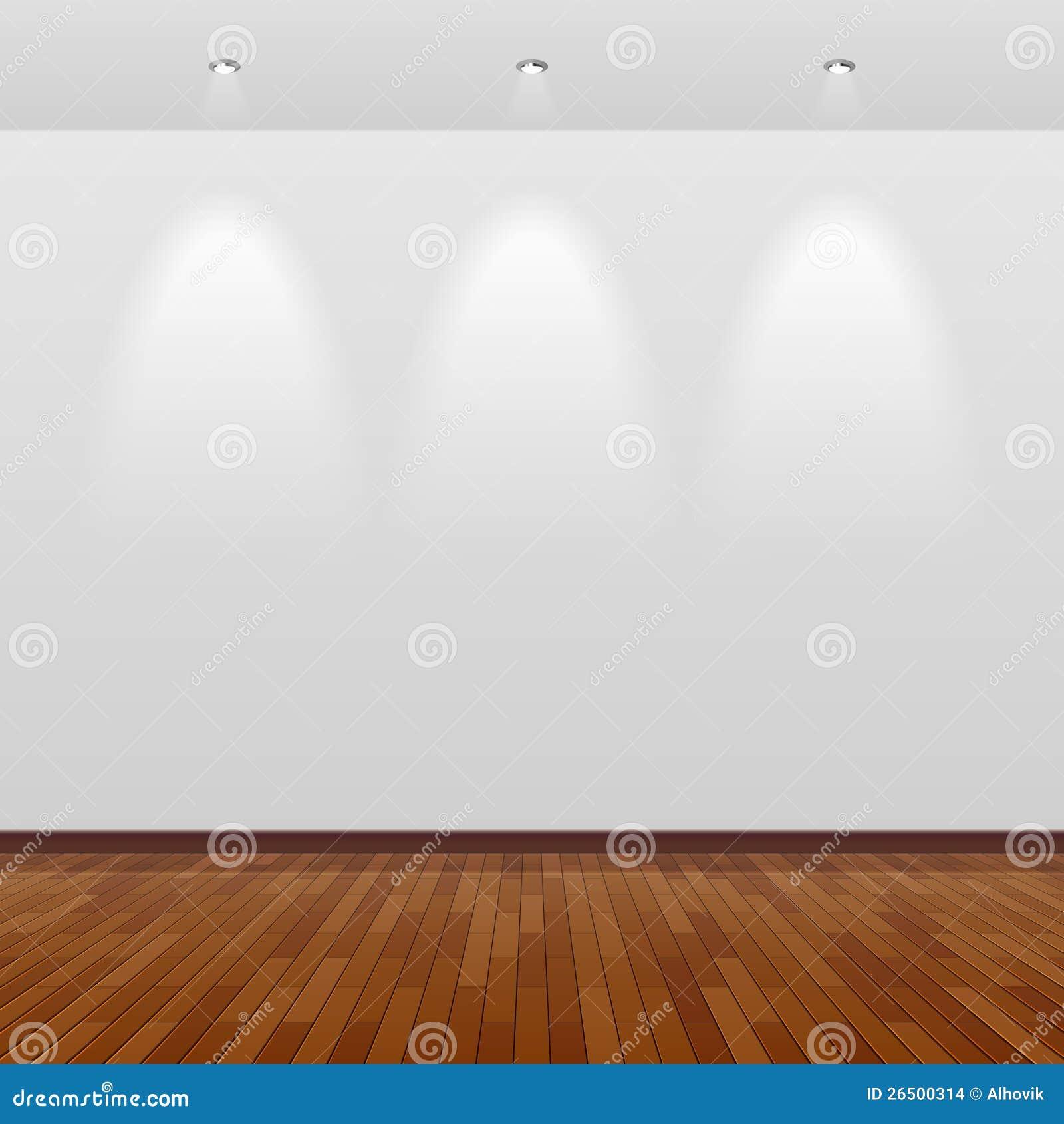 Пустая комната с белой стеной и деревянным полом
