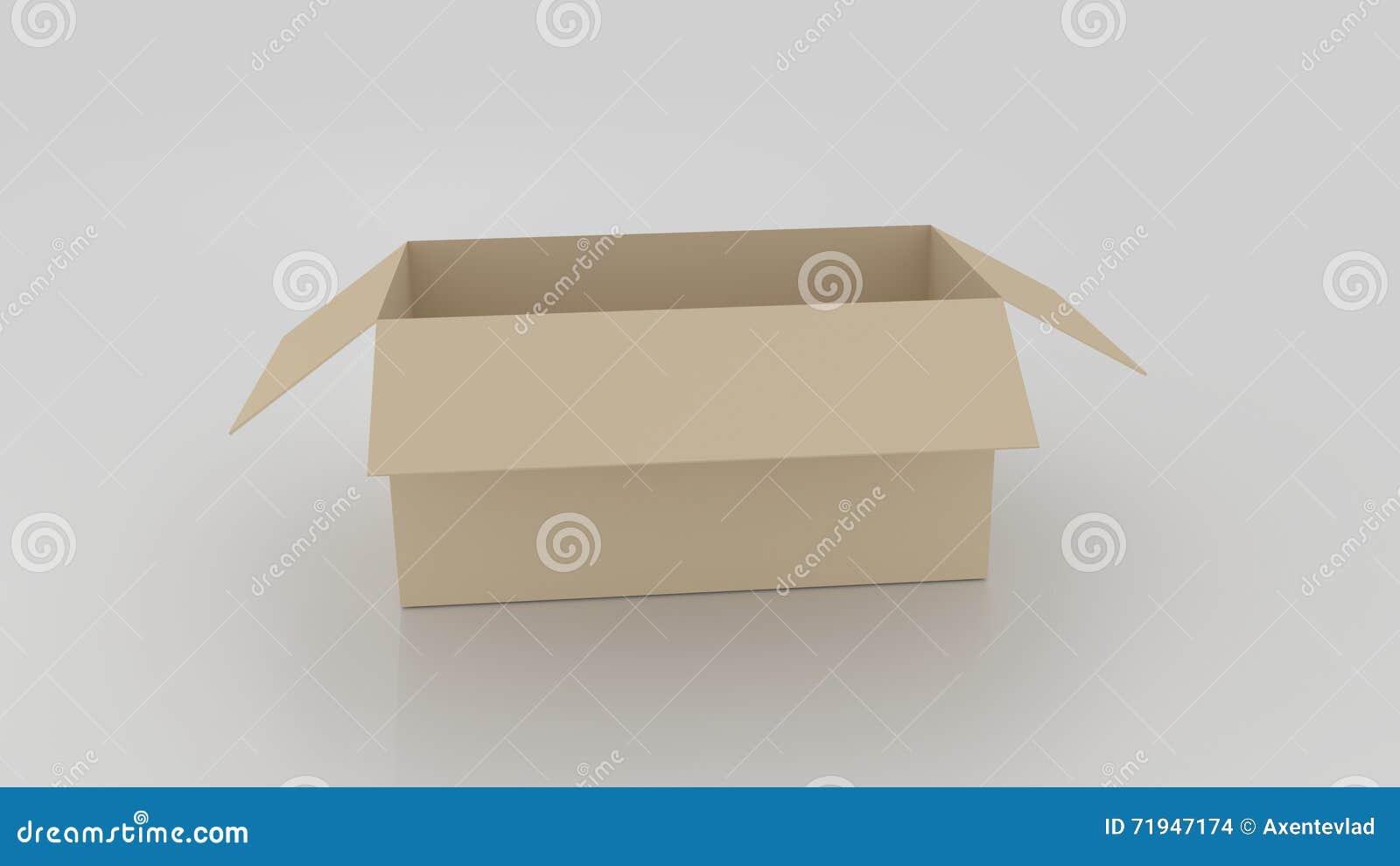 Пустая коричневая картонная коробка раскрыла, подготавливает для того чтобы обернуть вещи в ей дальше