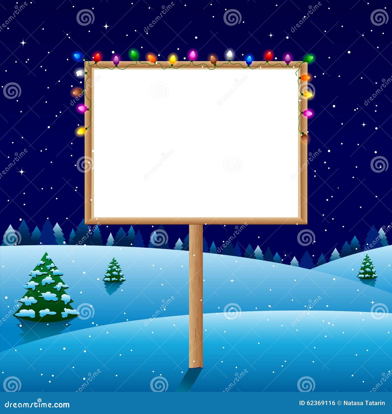 Пустая доска на ноче зимы с светами рождества