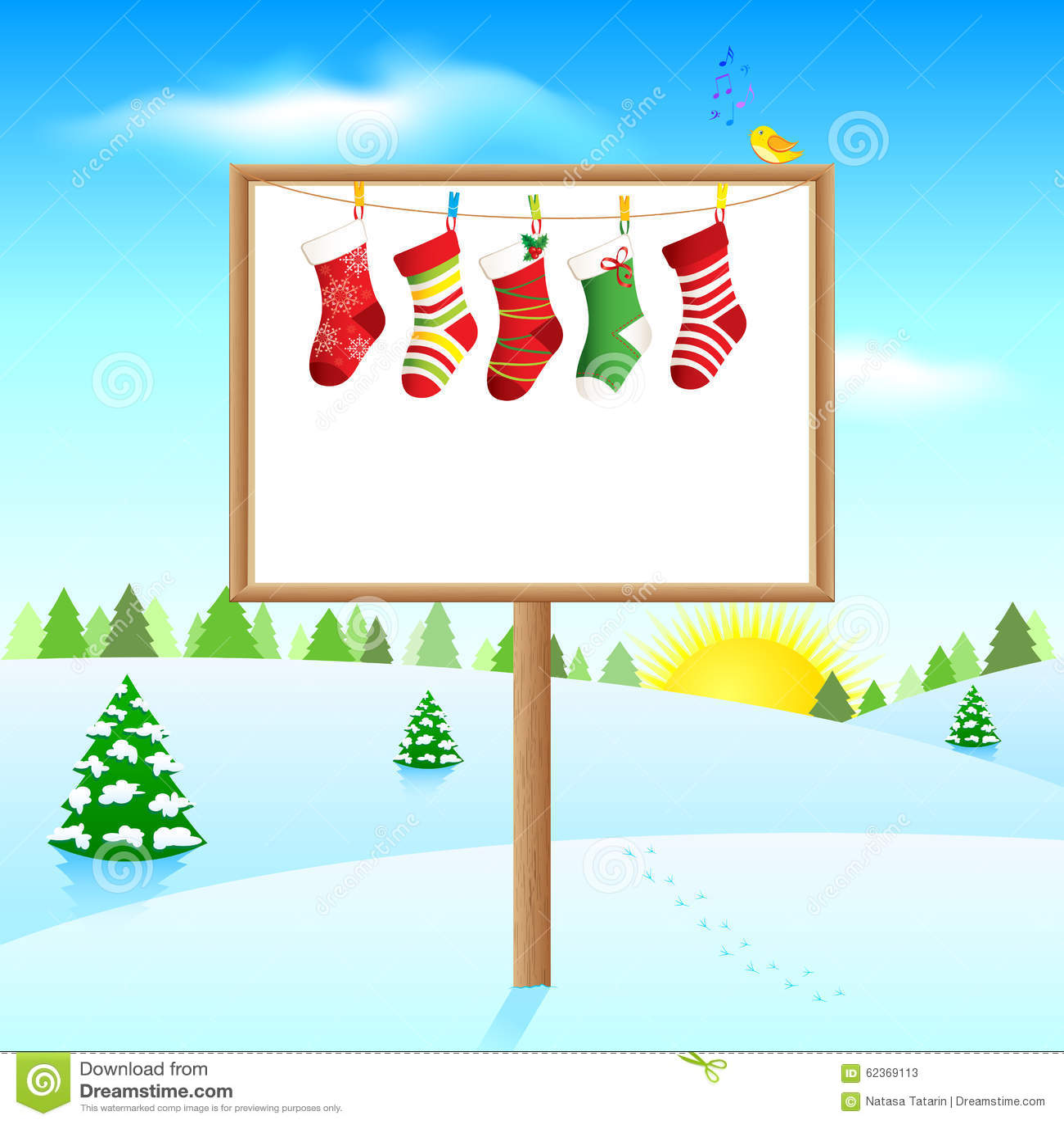 Пустая доска на солнечном утре зимы с носками