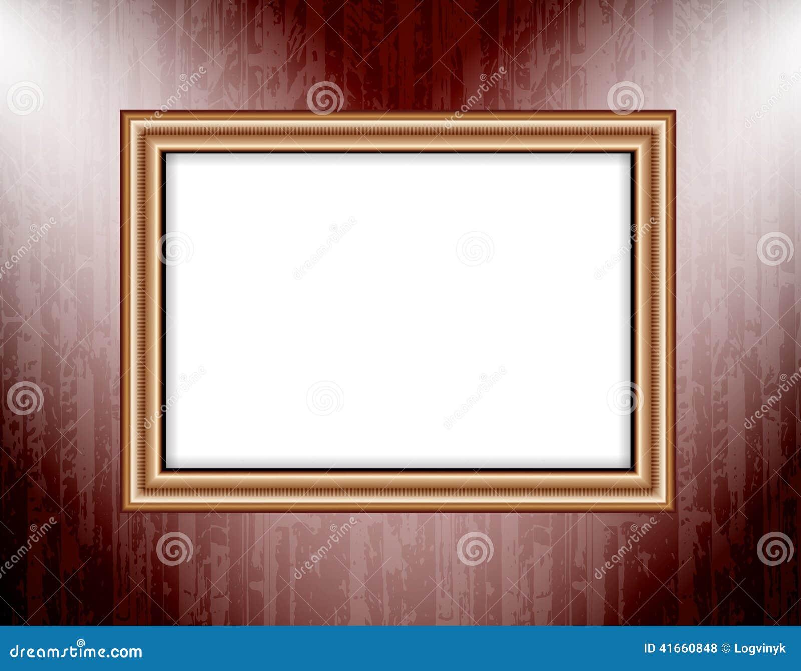 Пустая рамка на фарах покрашенных освещения стены