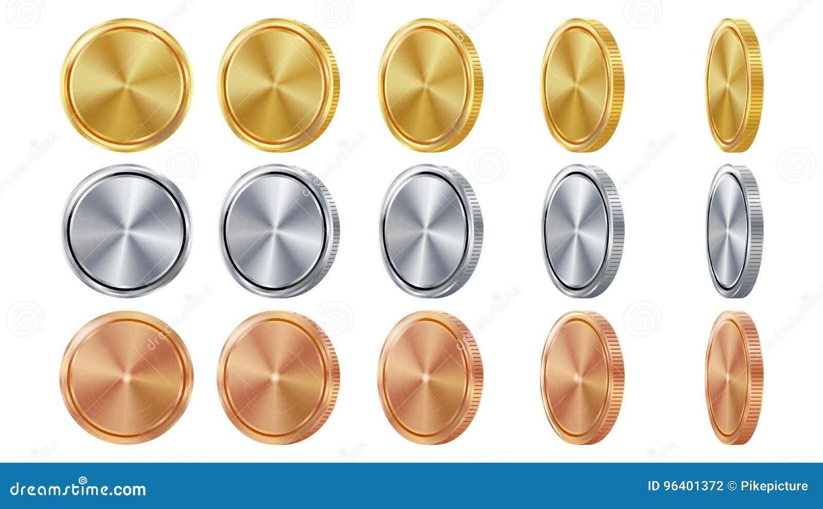 Пустое 3D золото, серебр, бронзовые монетки Vector пустой комплект Реалистический шаблон Углы сальто различные Вклад, сеть, игра