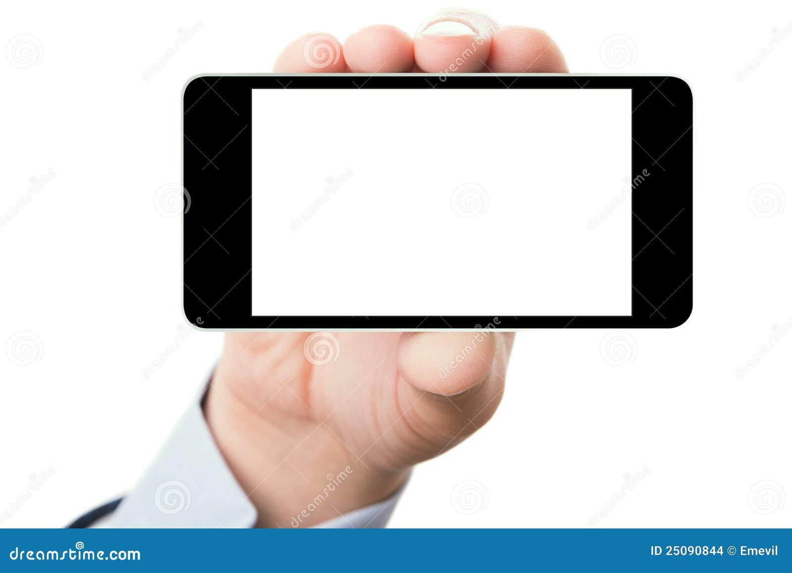пустое smartphone экрана удерживания руки