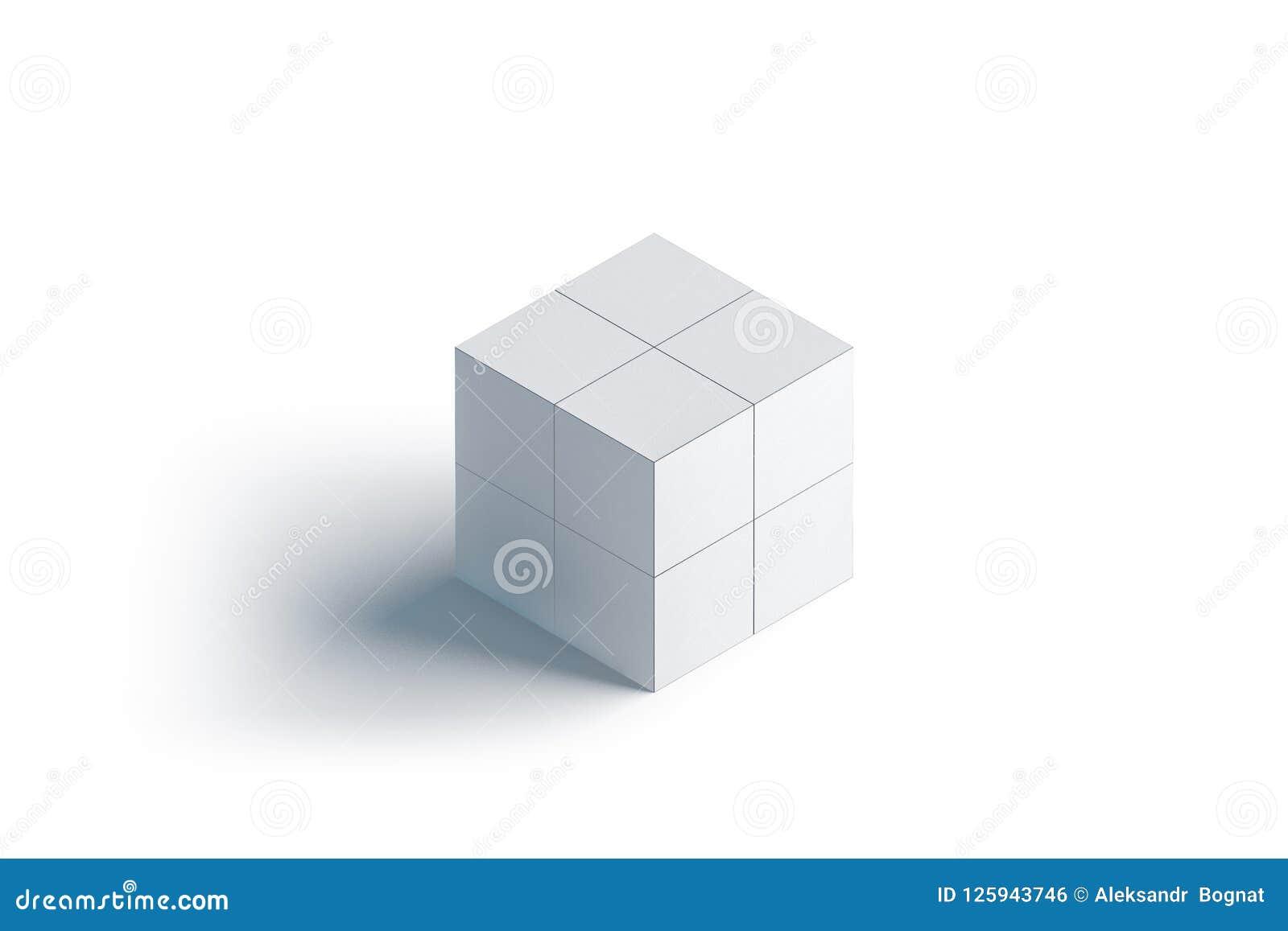 Пустой белый выдвиженческий волшебный модель-макет куба, изолированная стойка,