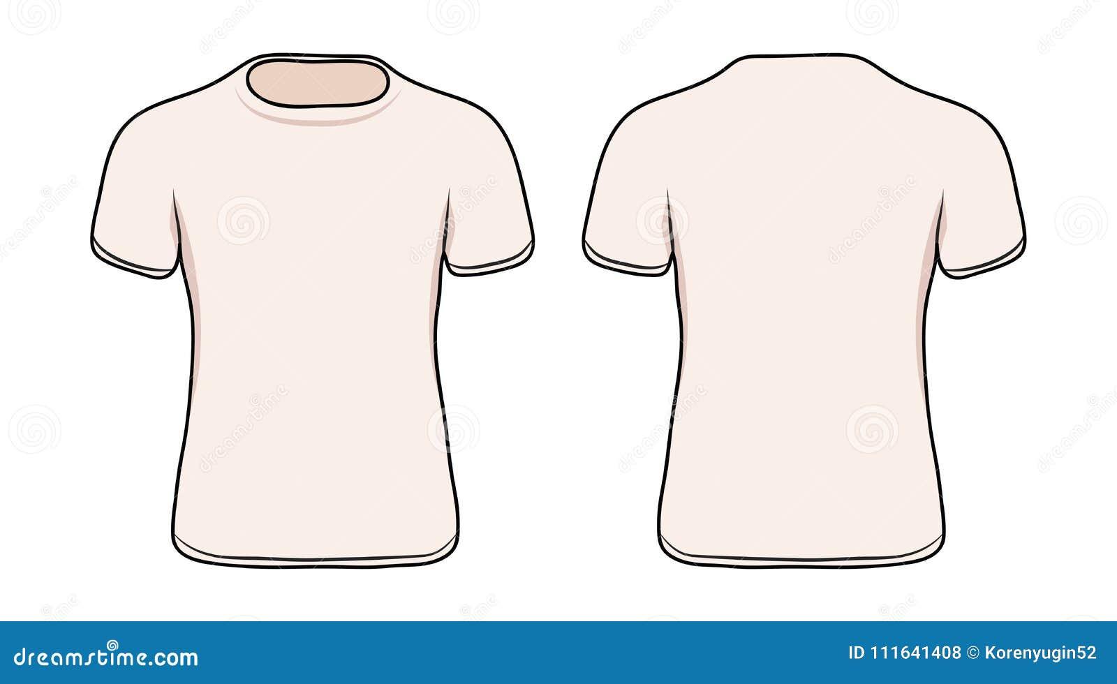 Пустой белый шаблон футболки, иллюстрация вектора запаса
