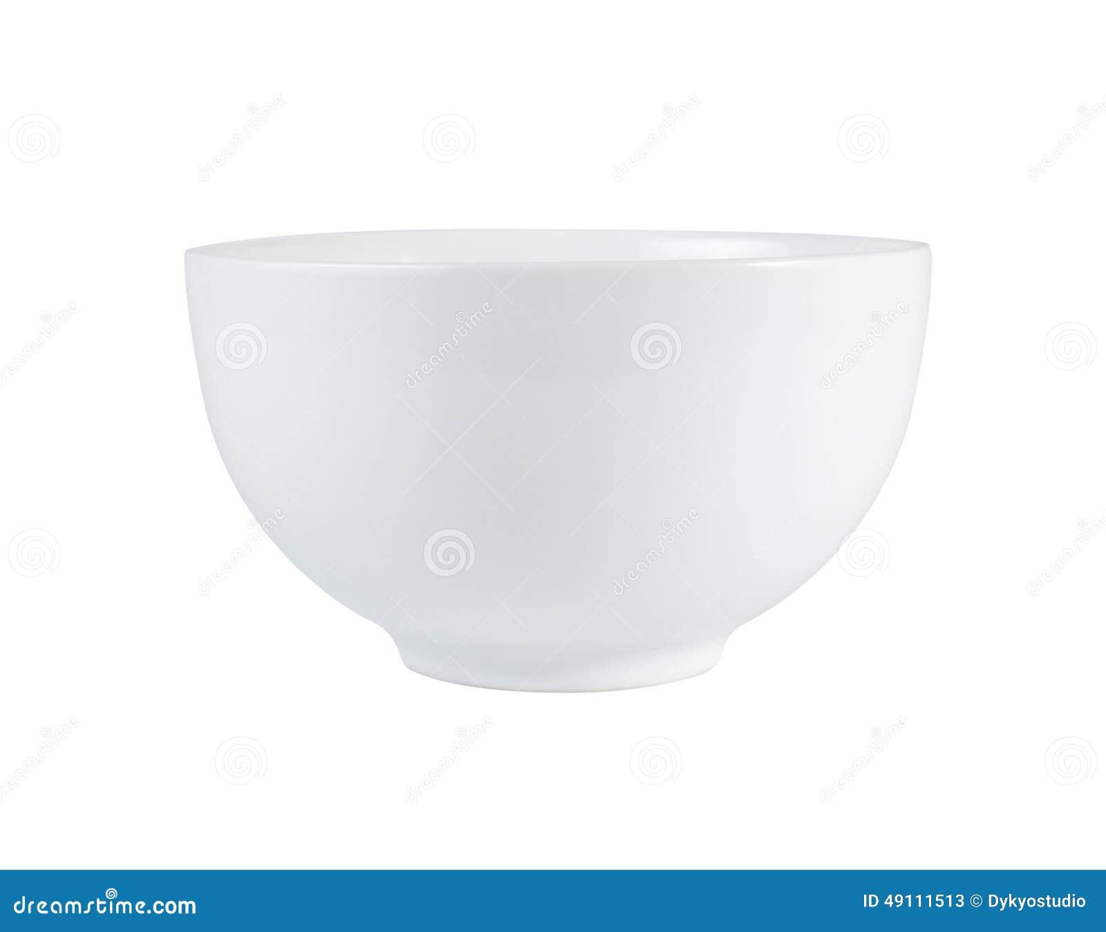 Пустой белый шар (керамический или фарфор) изолированный на белизне