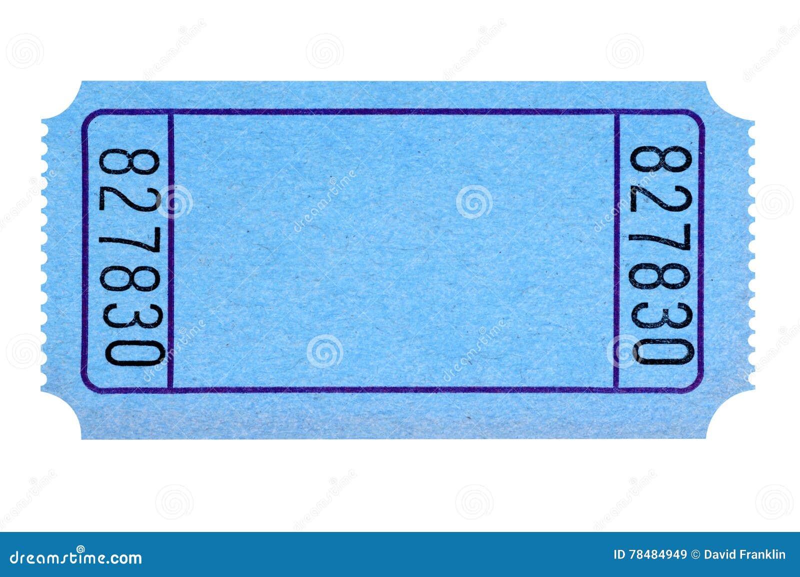 Пустой голубой билет кино или лотереи изолированный на белизне
