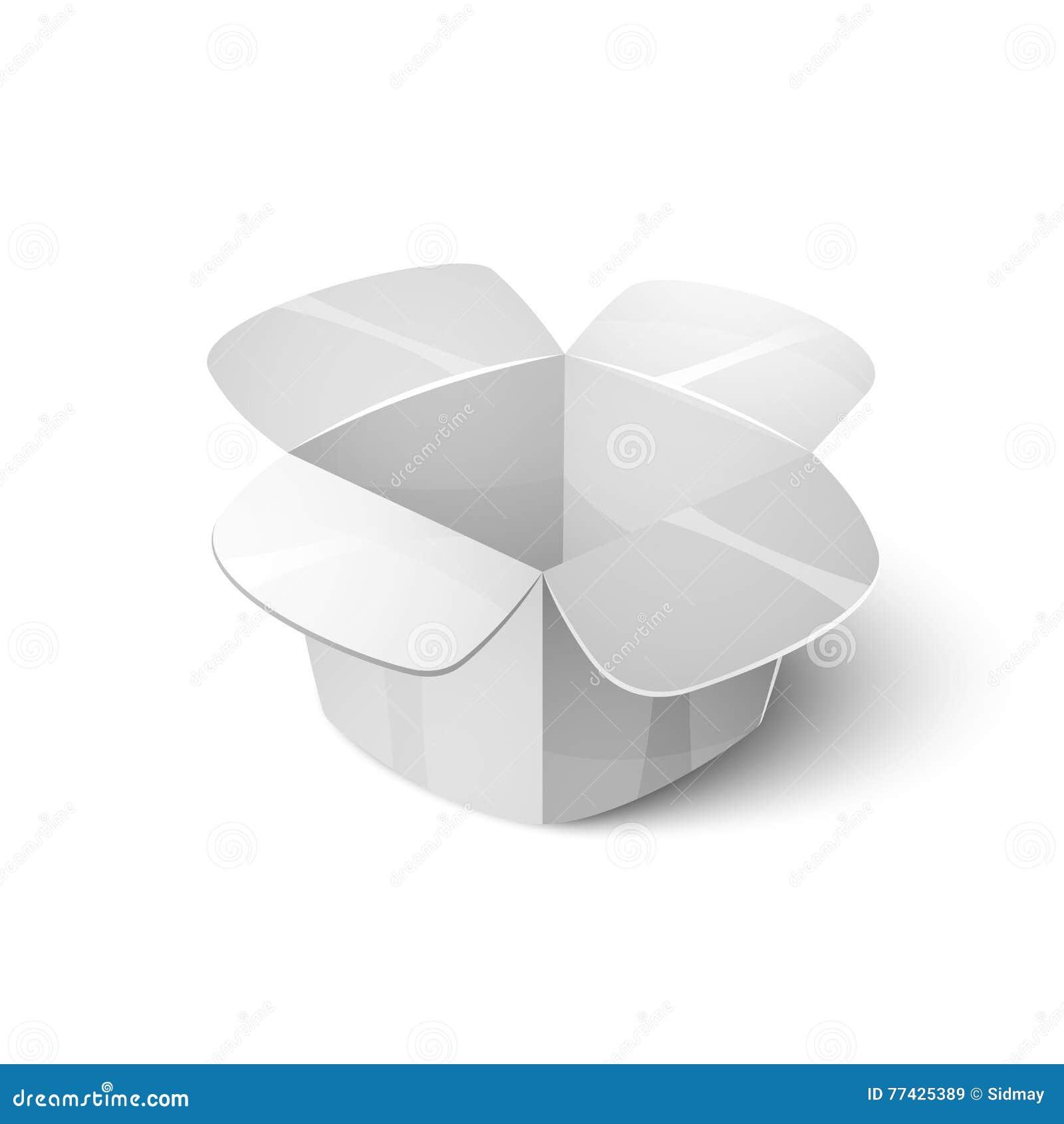 Пустой картон упаковывая, открытый значок коробки в стиле шаржа