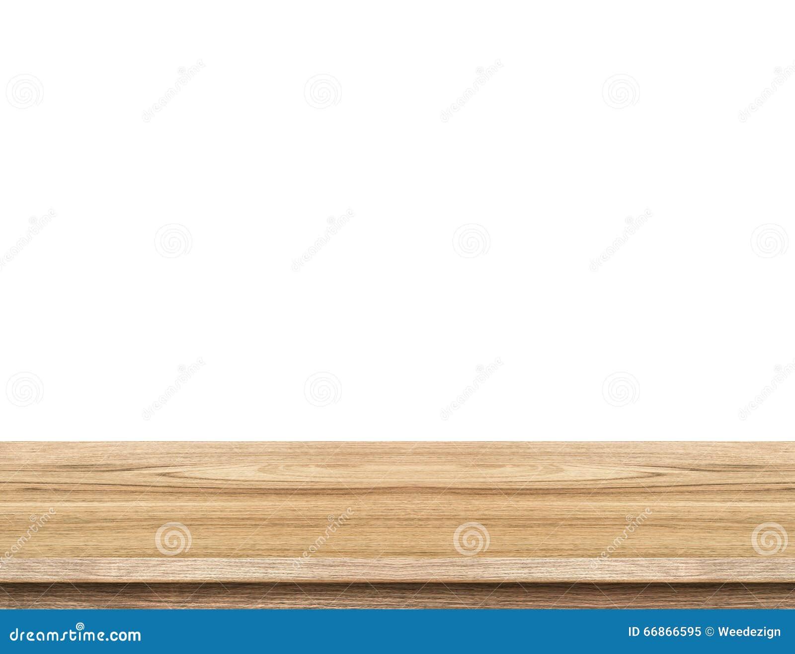 Пустой светлый деревянный изолят столешницы на белой предпосылке, sp разрешения