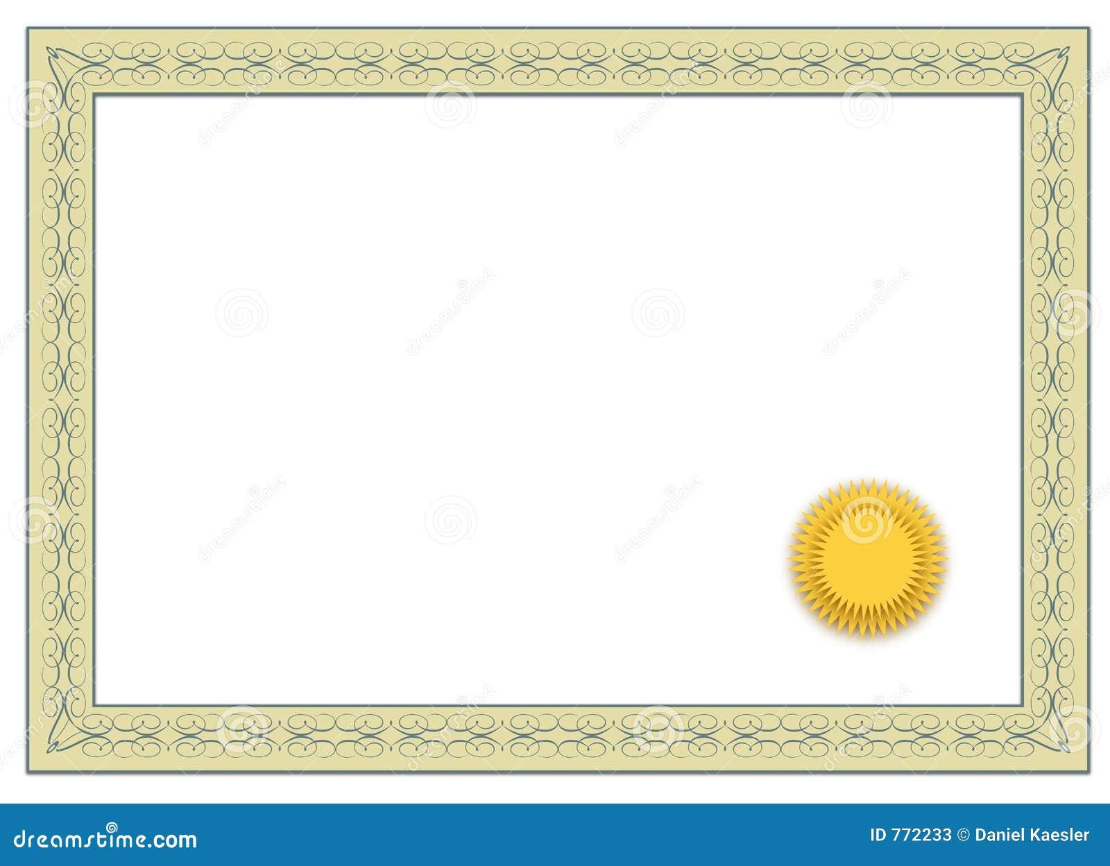 пустой сертификат иллюстрация штока. иллюстрации ...