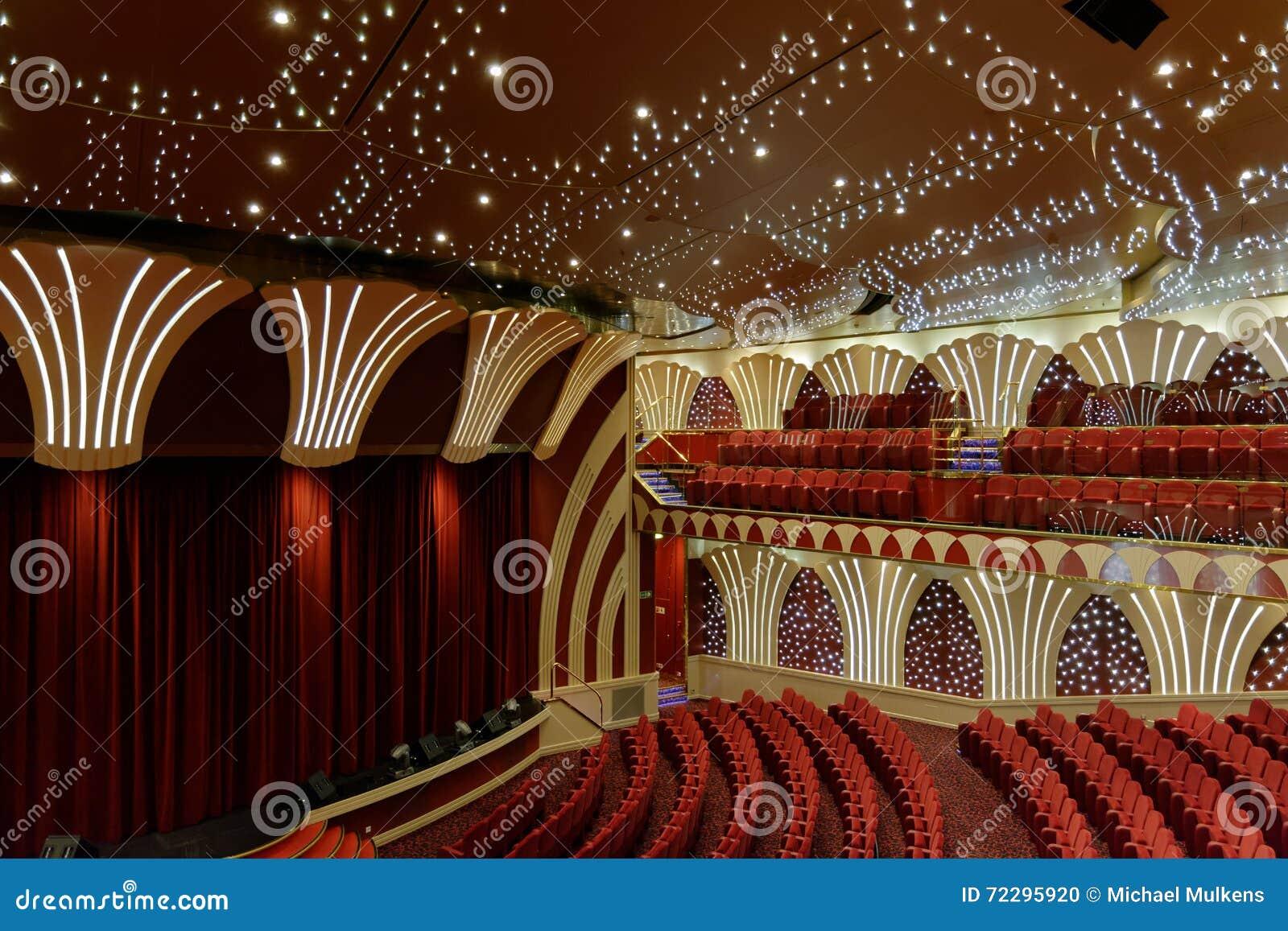 Download Пустой театр на туристическом судне MSC Musica Стоковое Фото - изображение насчитывающей кино, зала: 72295920