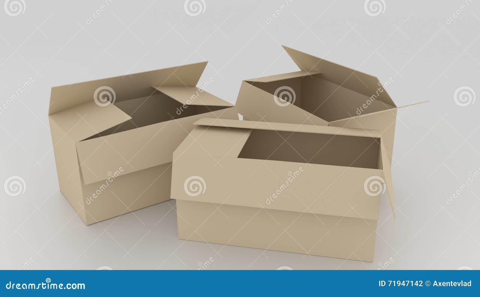 Пустые коричневые картонные коробки раскрыли, подготавливают для того чтобы обернуть вещи в ем o