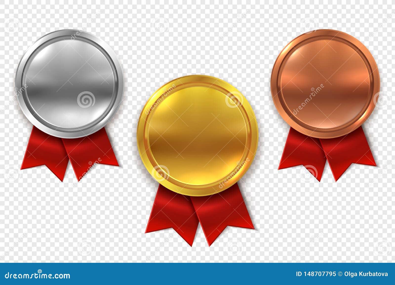 Пустые медали Пустые круглые серебр и бронзовая медаль золота с красными изолированным лентами набором вектора