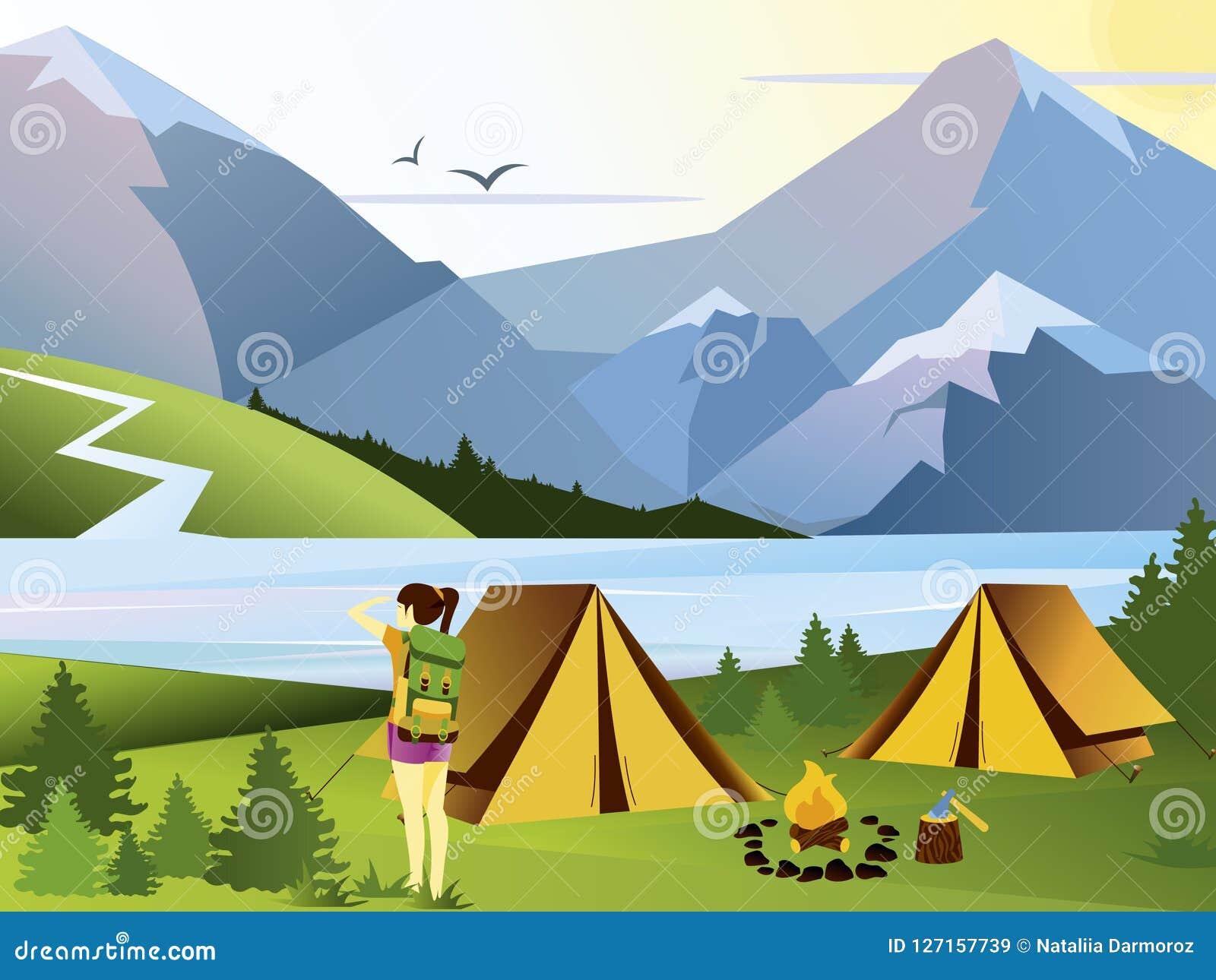 Путешественник девушки плоской иллюстрации вектора располагаясь лагерем Предпосылка природы с травой, лесом, горами и холмами нап