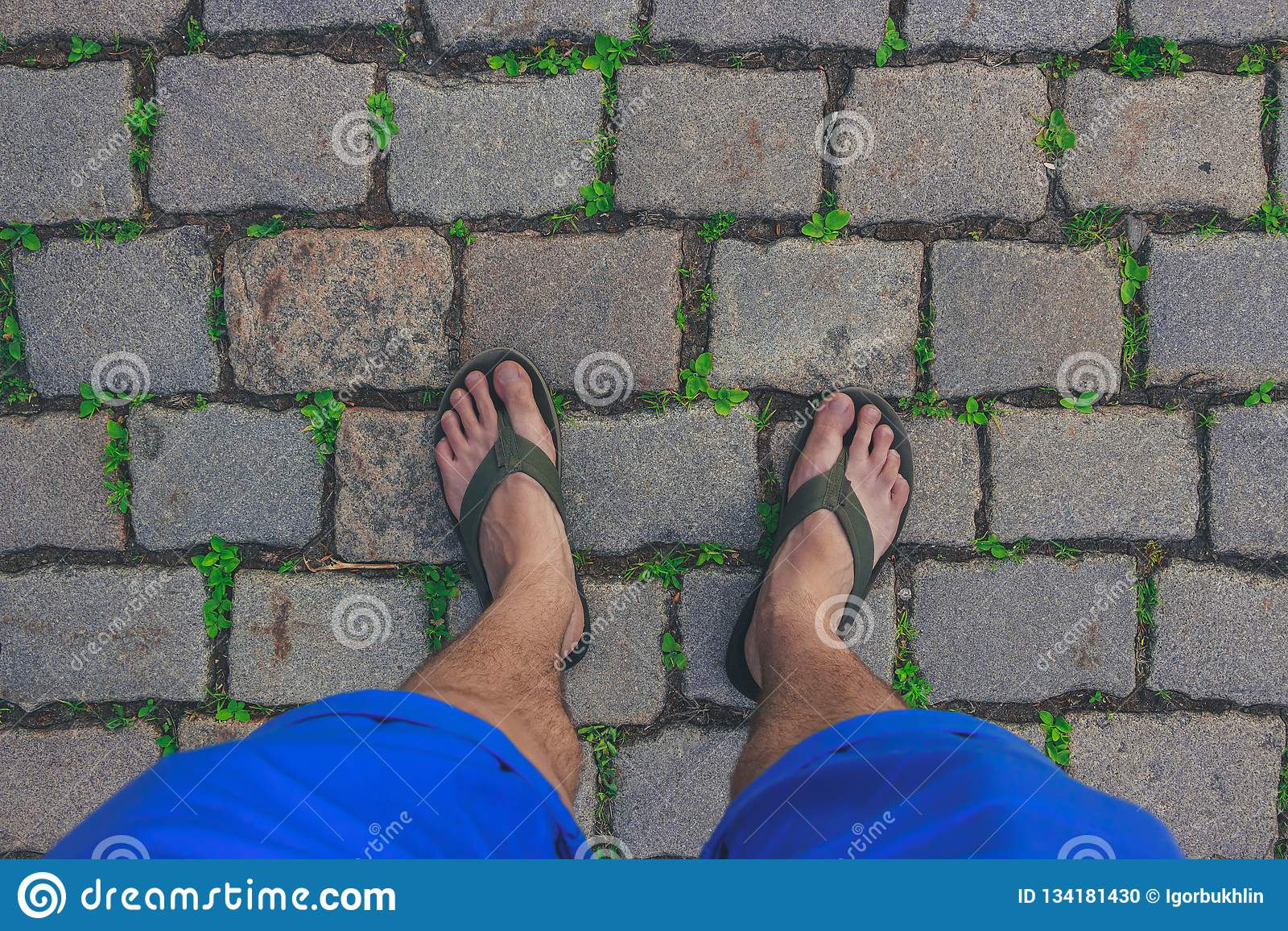 Путешественник нося в кувырках идет на вымощенный путь