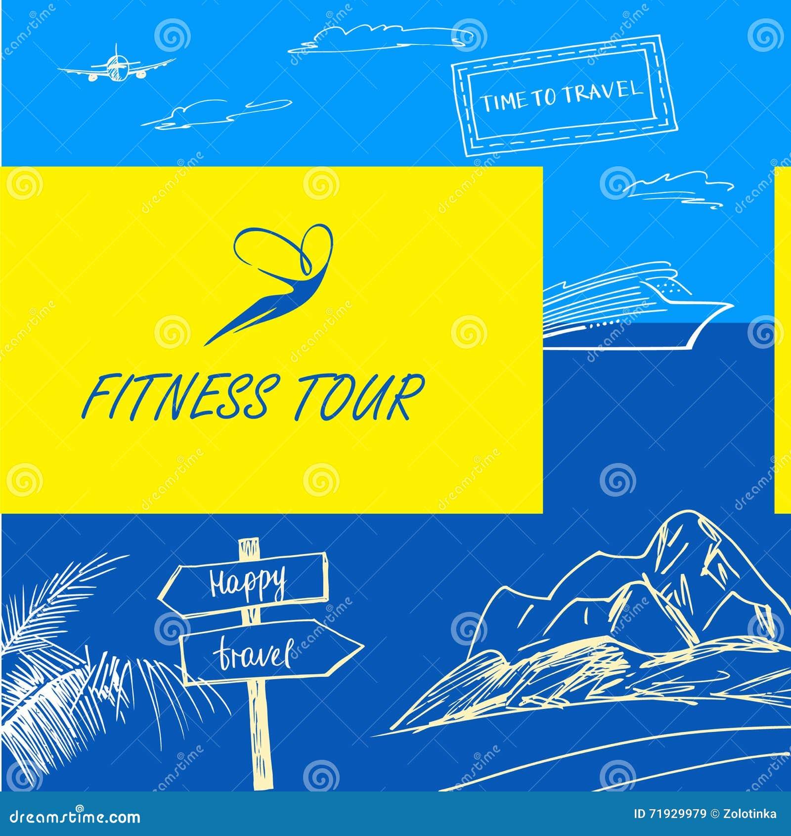 Путешествие фитнеса логотипа вектора Перемещение знака счастливое вектор нот человека цвета предпосылки