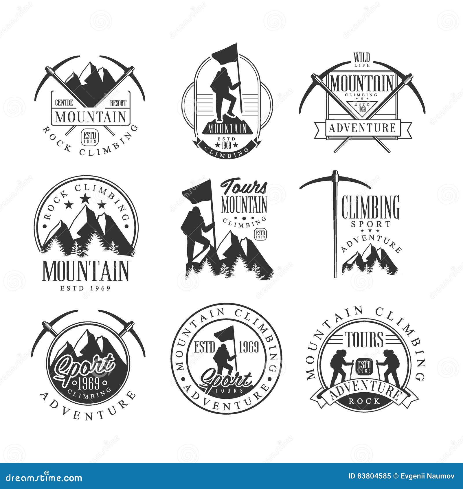 Путешествия приключения альпинизма шаблоны дизайна знака весьма черно-белые с силуэтами текста и инструментов