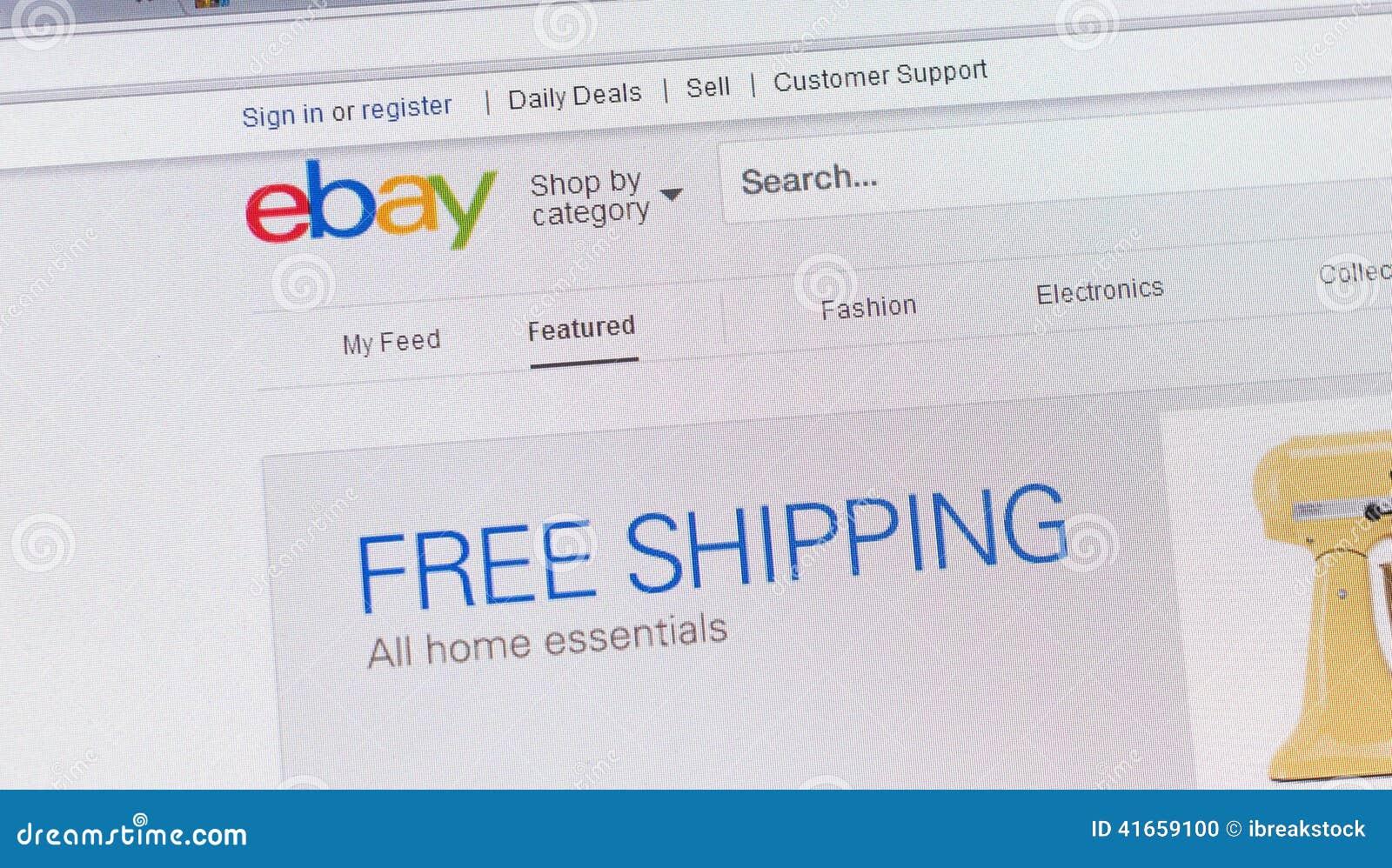 Путешествия, Франция - 17-ое июня 2014: Закройте вверх вебсайта ebay на A.C.