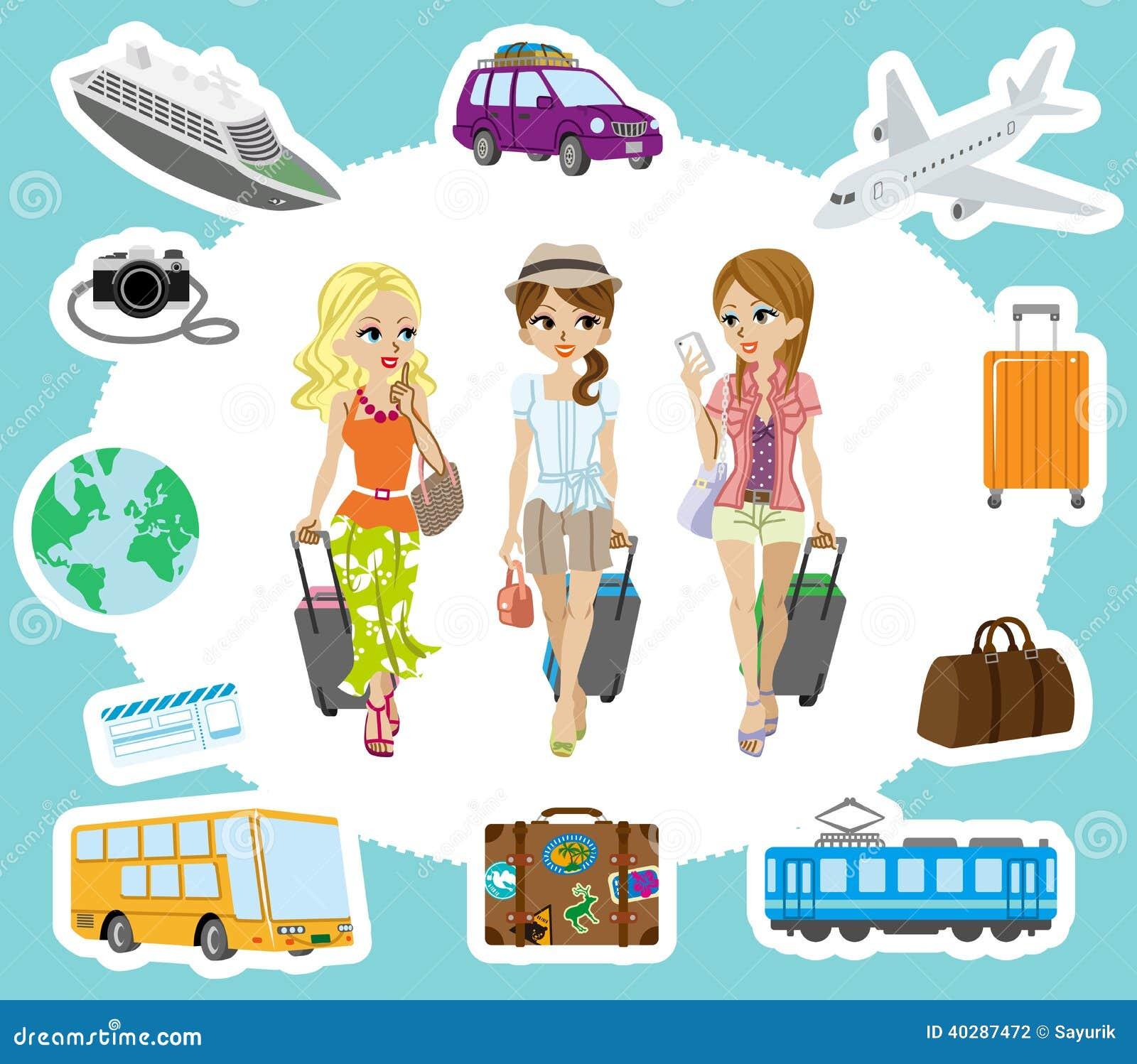 Путешествовать девушки и комплекты транспорта