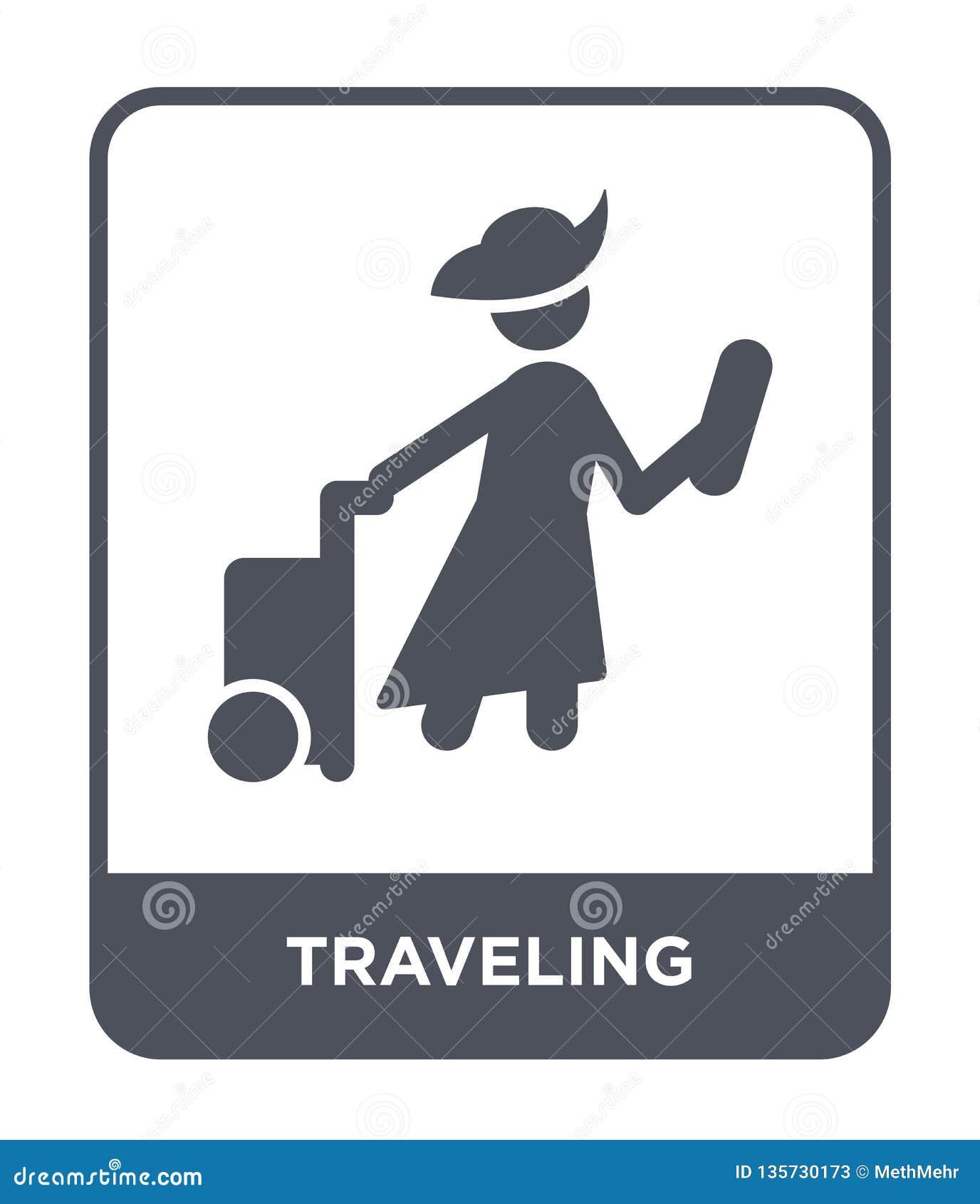 путешествовать значок в ультрамодном стиле дизайна путешествующ значок изолированный на белой предпосылке путешествующ квартира з