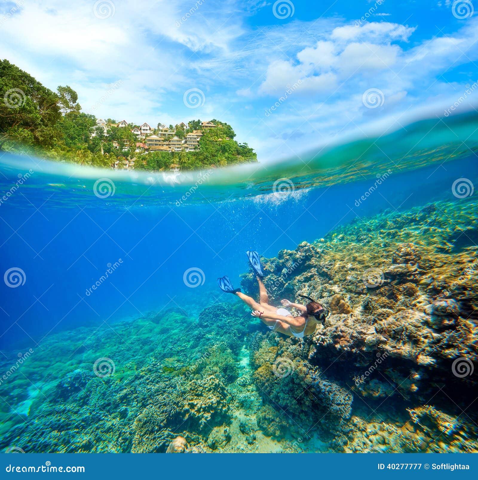 Путешествуйте карточка при женщина плавая на предпосылку зеленое islan