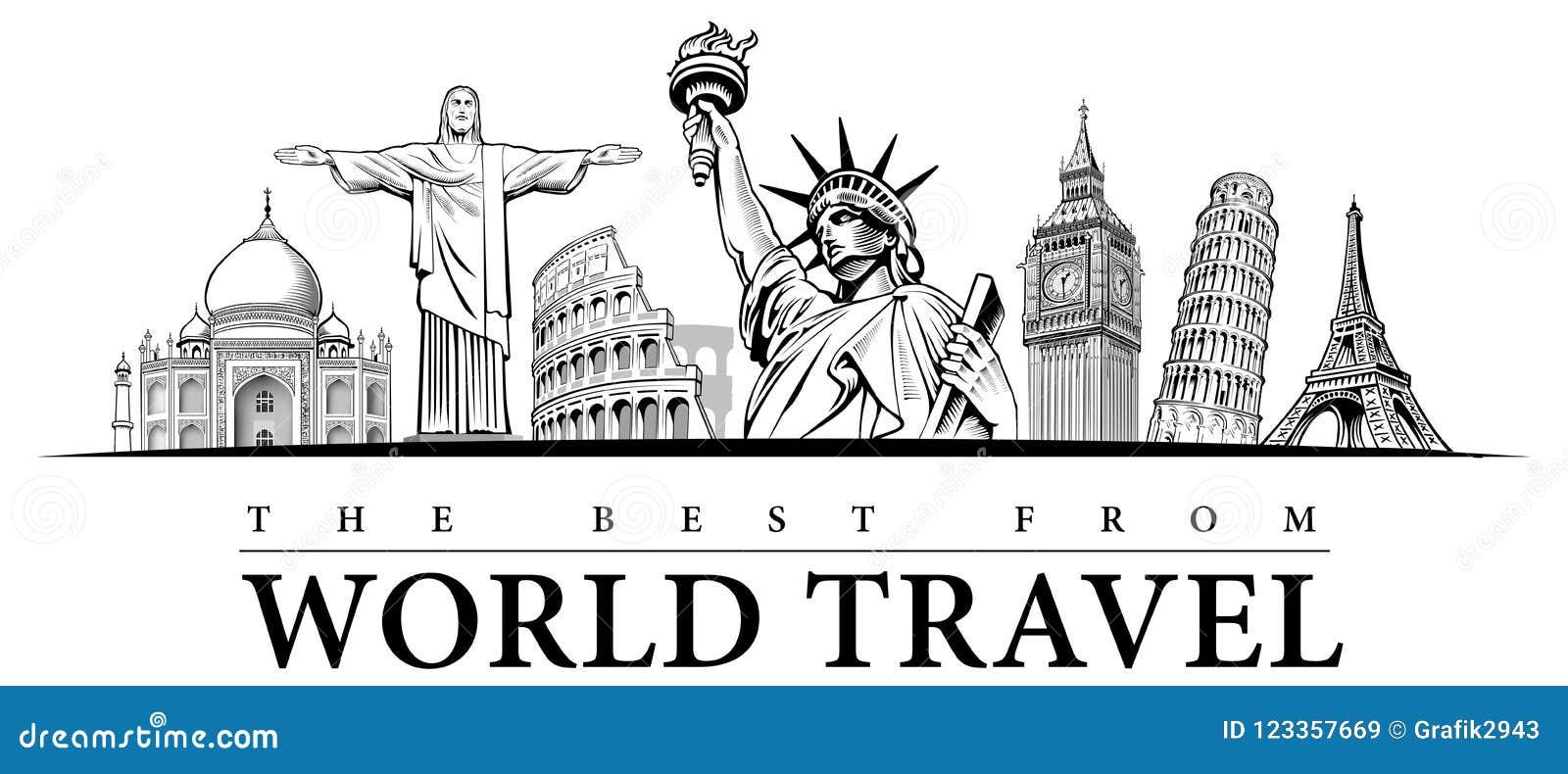 Путешествуйте назначени-известное placesNYC, Лондон большое Бен, Рим-Колизей, башня Париж-Eiffel, Рио de Janeiro-Иисус Статуя, NY