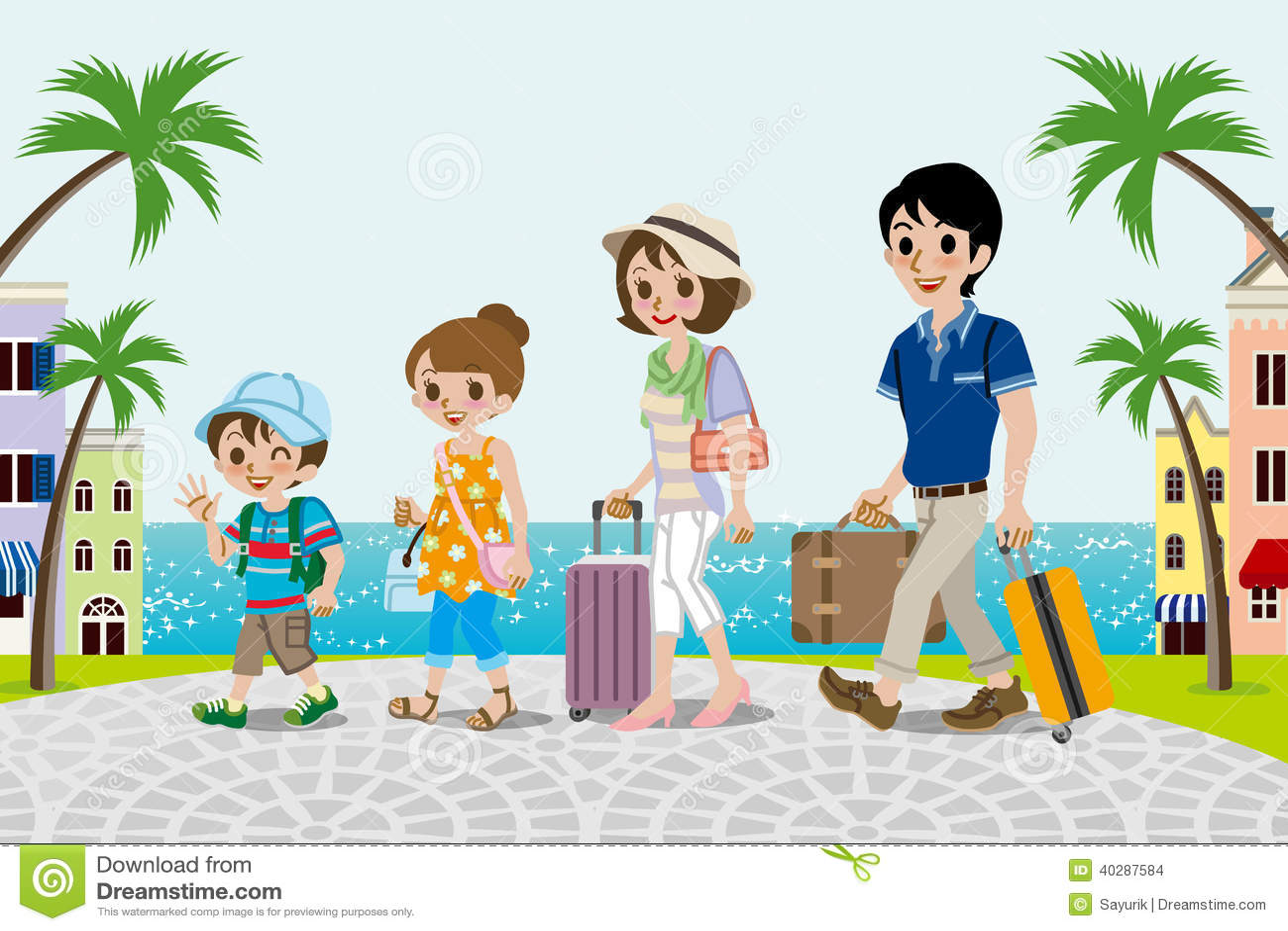 Путешествующ семья в городке взморья - EPS10