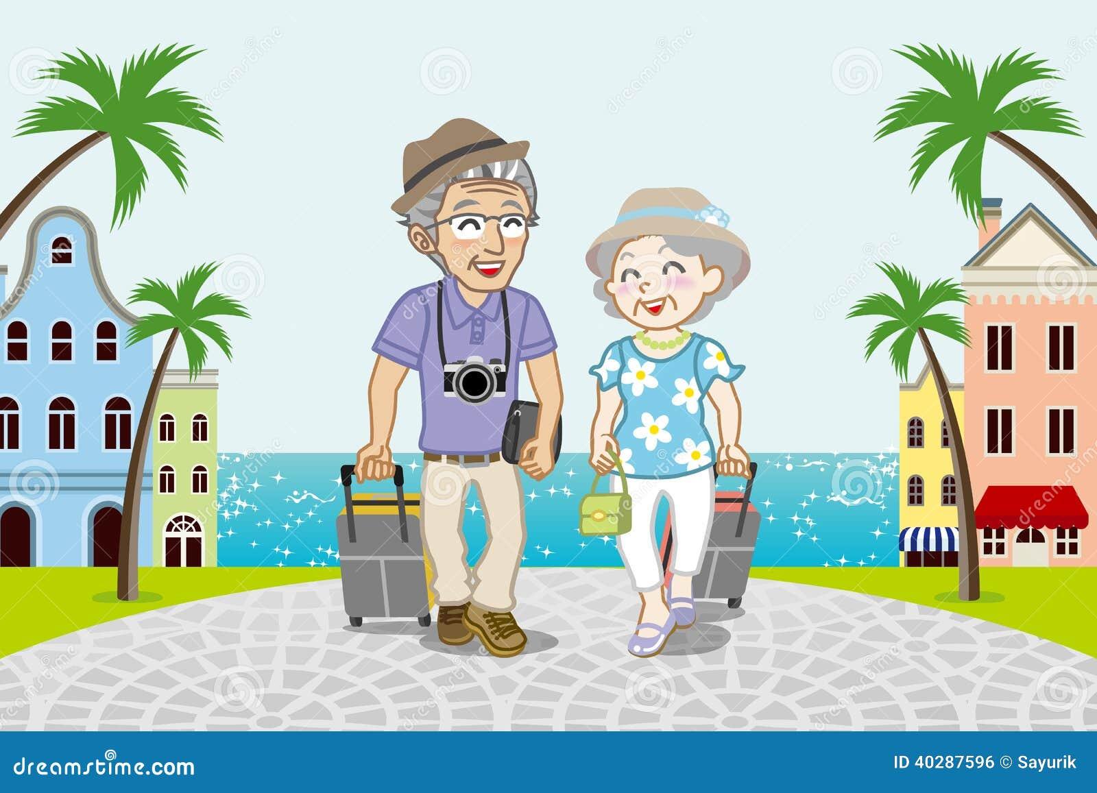 Путешествующ старшие пары в городке взморья - EPS10