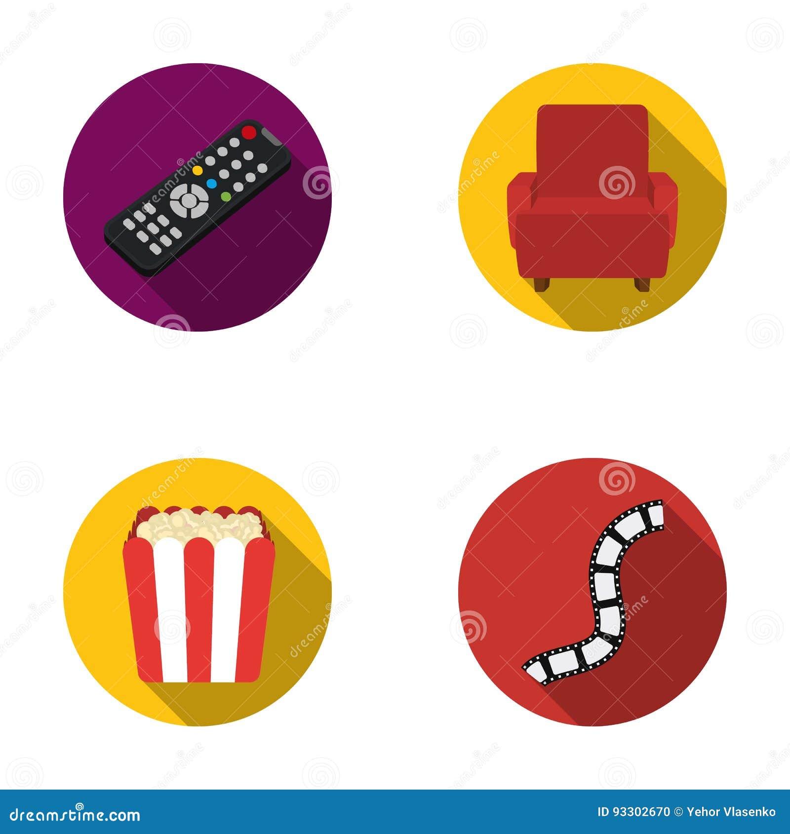 Пульт управления, кресло для осматривать, попкорн Значки собрания комплекта фильмов и кино в плоском стиле vector запас символа