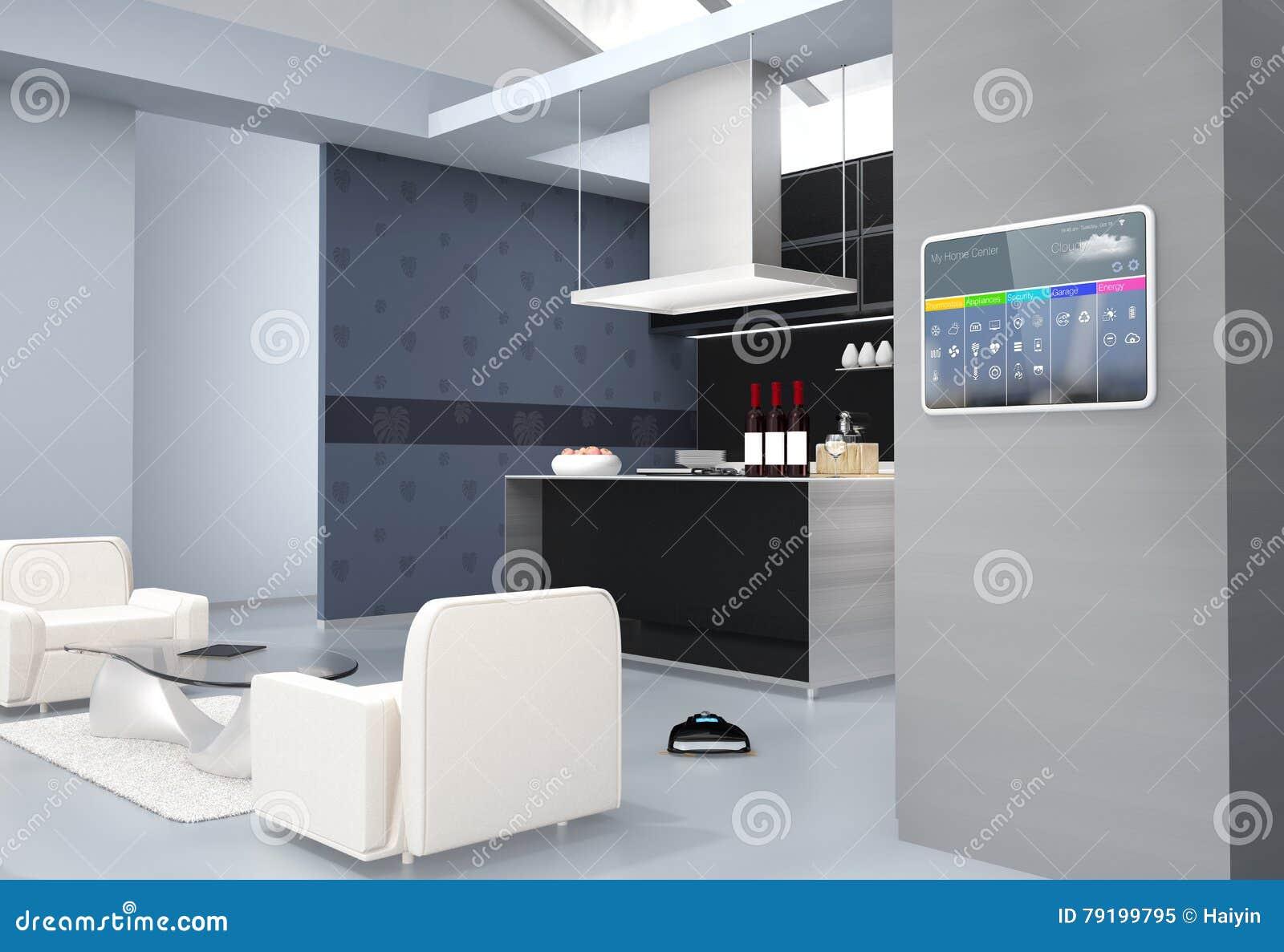 Пульт управления домашней автоматизации на стене кухни