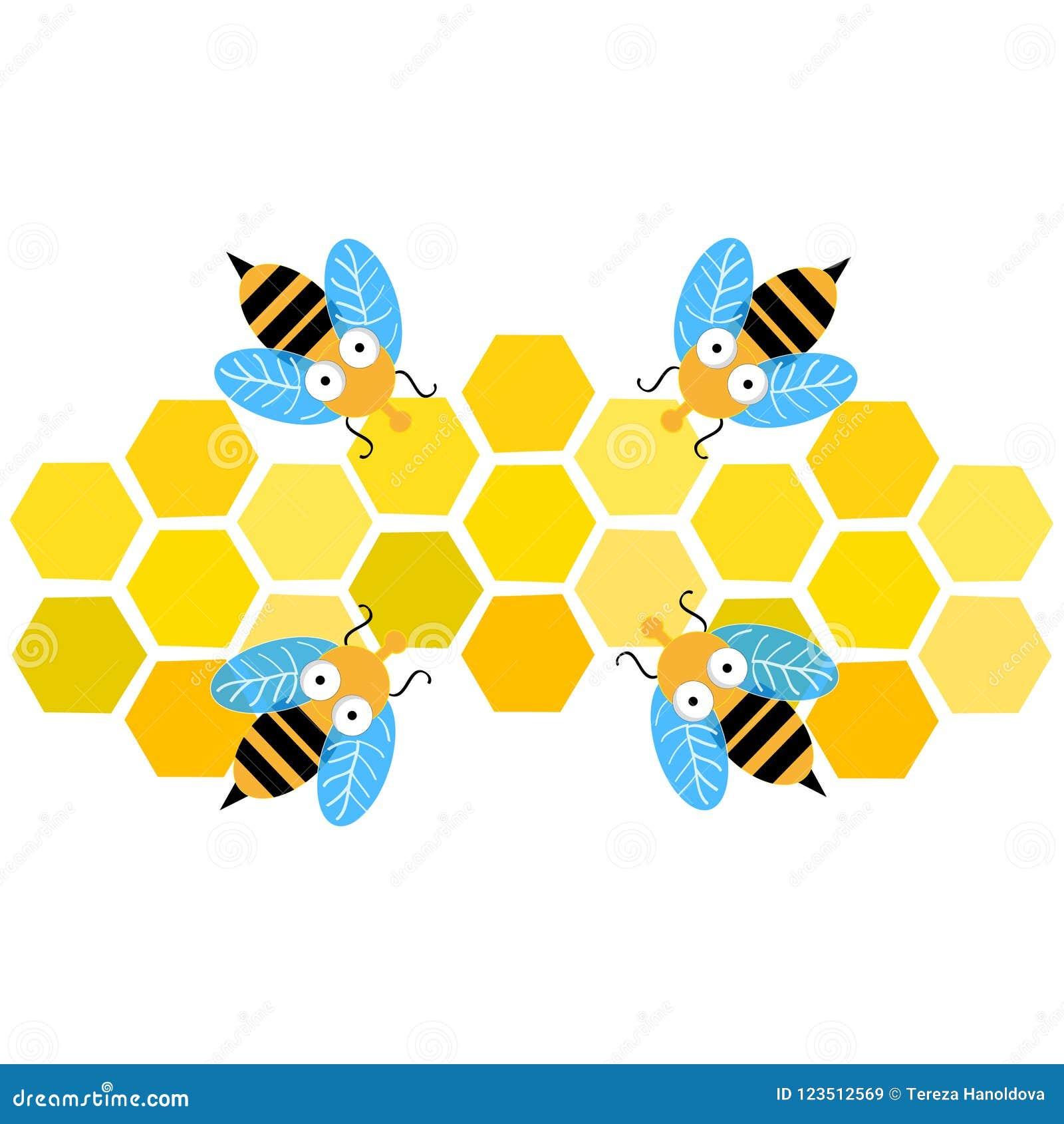 Пчелы при сот изолированный на белой предпосылке также вектор иллюстрации притяжки corel