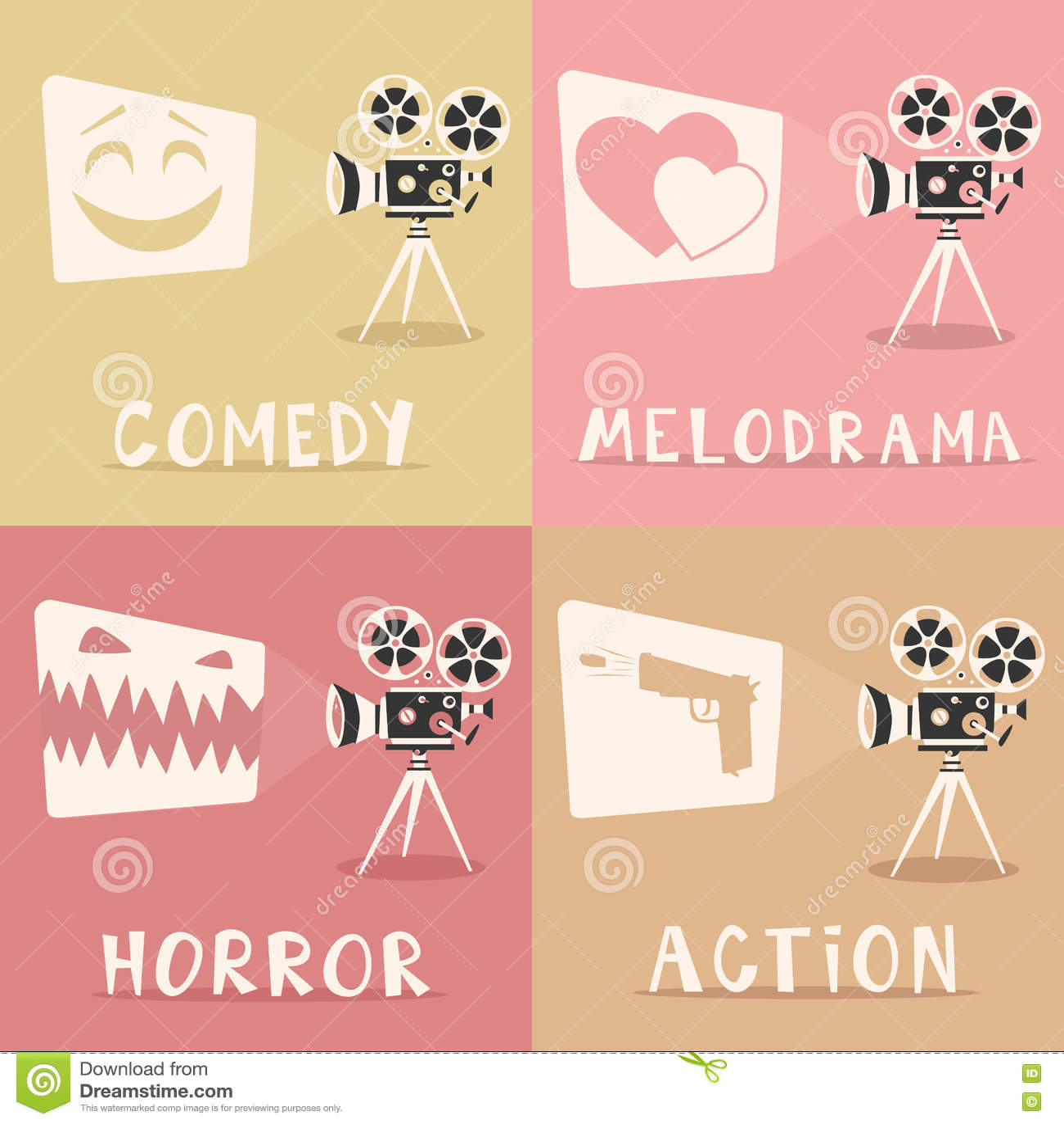 Плакат жанров кино alien кот шаржа избегает вектор крыши иллюстрации Репроектор и попкорн фильма