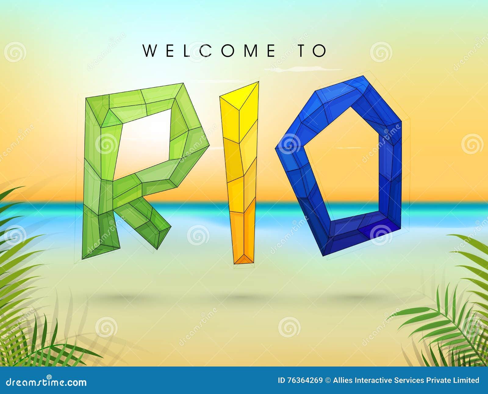 Плакат, знамя с стильным полигональным текстом Рио